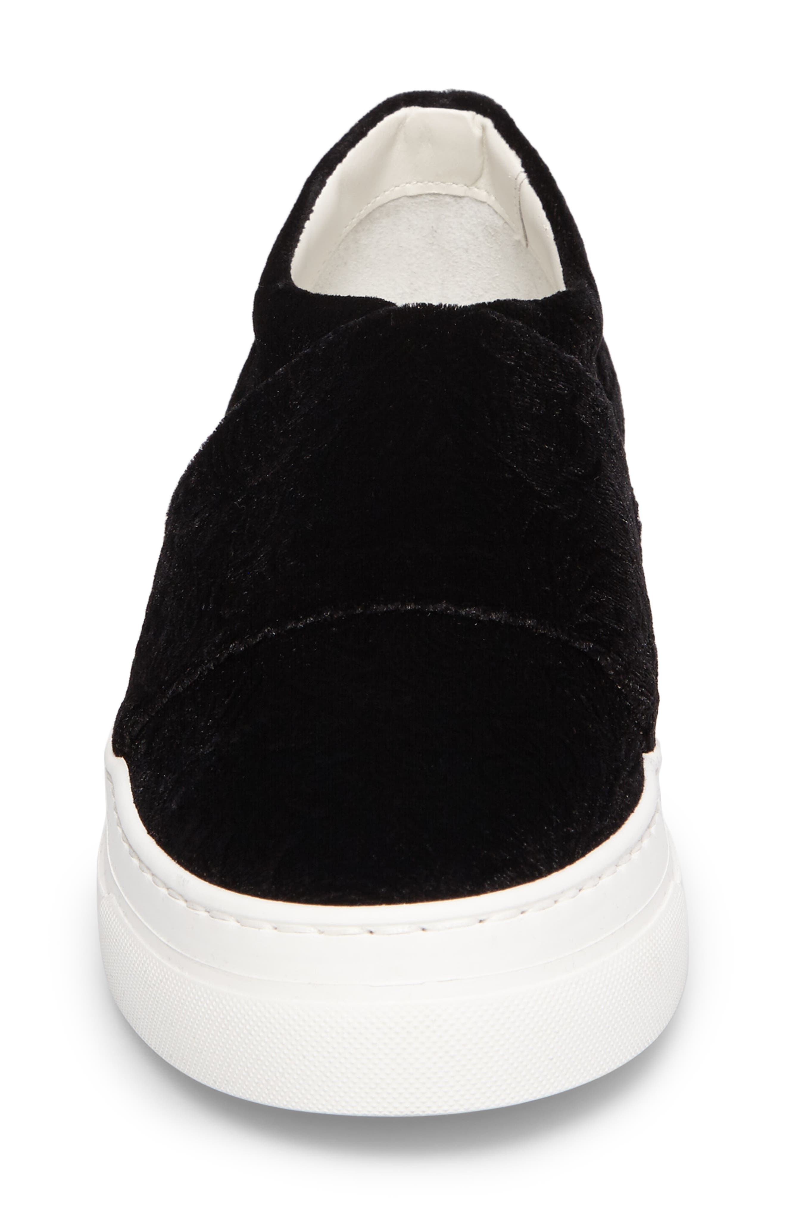Arlo Slip-On Platform Sneaker,                             Alternate thumbnail 4, color,                             Black Embossed Velvet