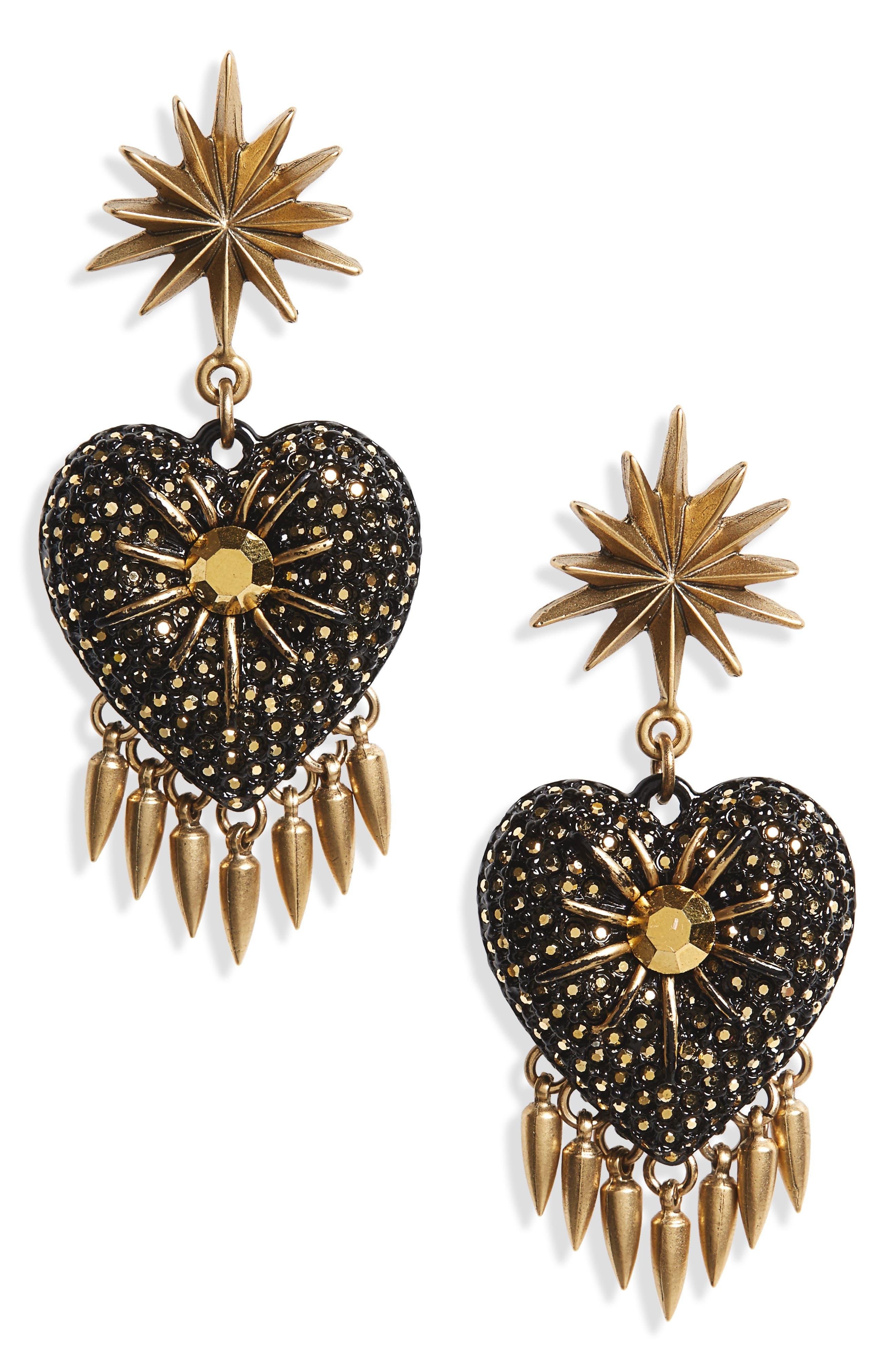 Juliet Crystal Drop Earrings,                         Main,                         color, Gold