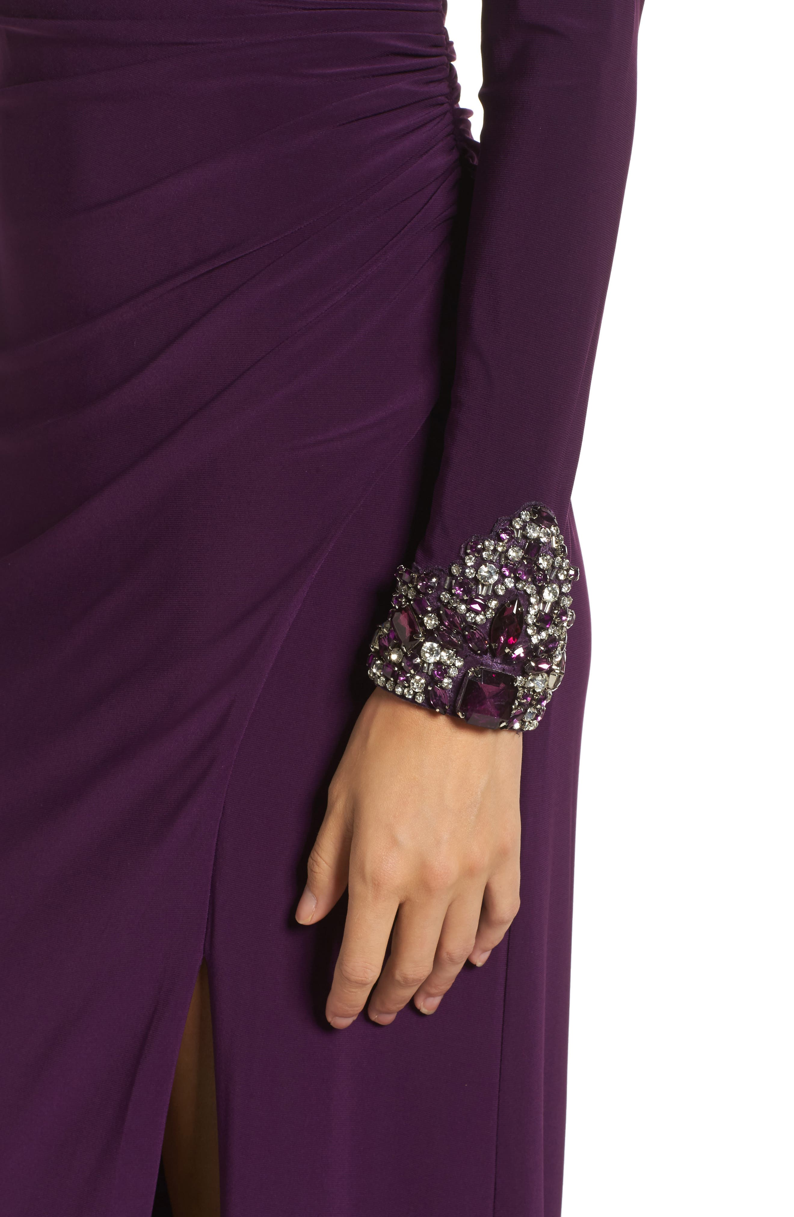 Beaded Sleeve Ruched Jersey Gown,                             Alternate thumbnail 4, color,                             Plum