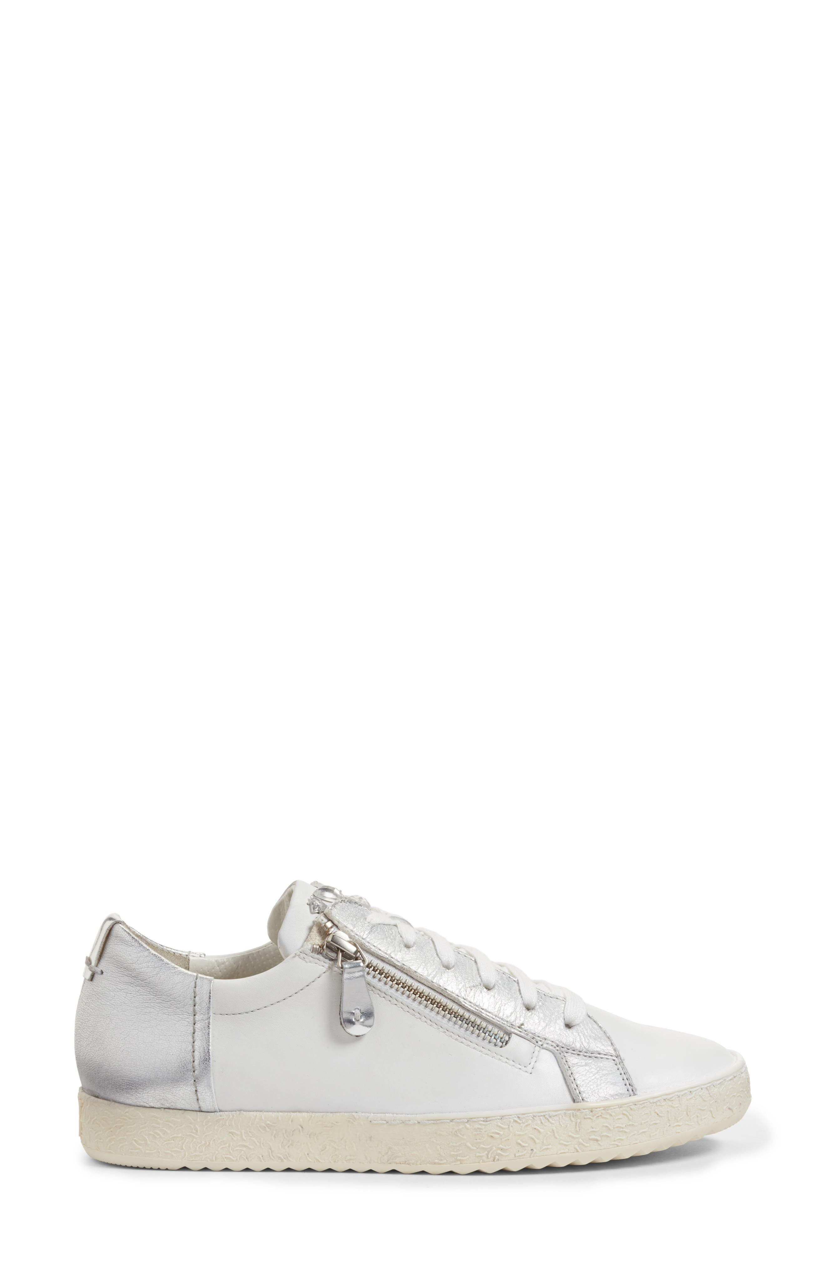Minnie Sneaker,                             Alternate thumbnail 4, color,                             White/ Silver Leather
