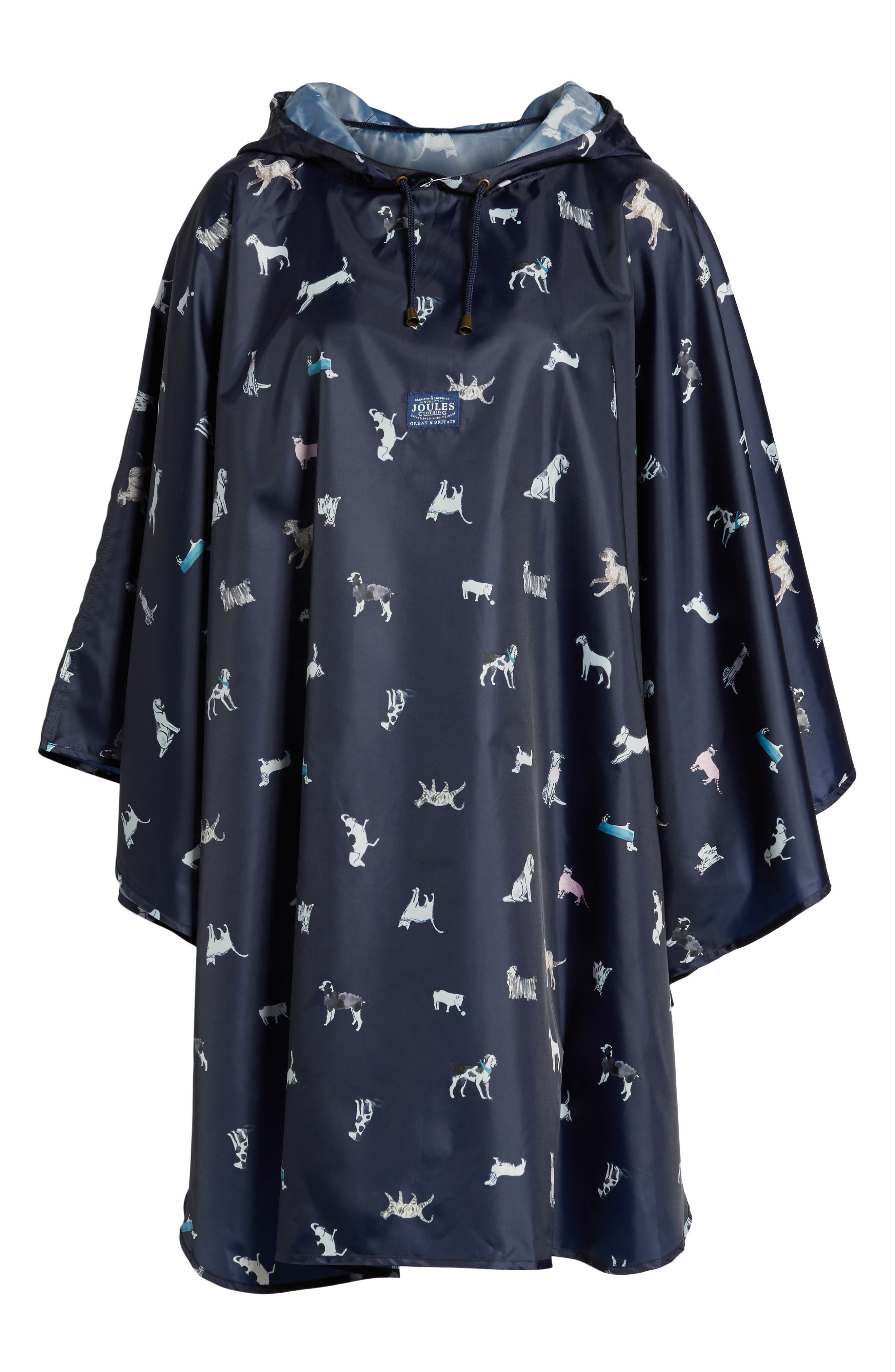 Right as Rain Print Packable Hooded Poncho,                         Main,                         color, French Navy Dog