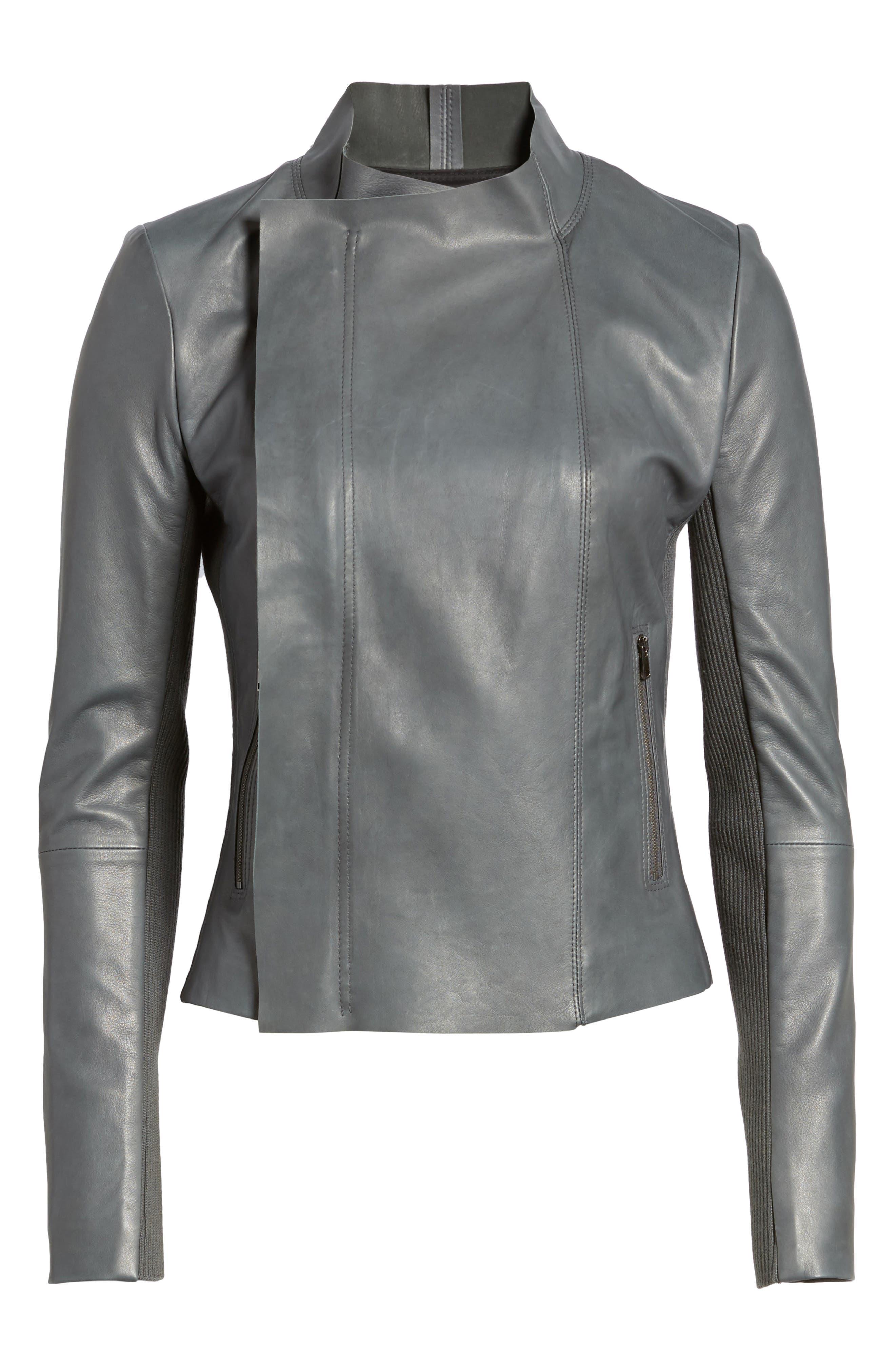 Alternate Image 6  - Nordstrom Signature Cascade Front Leather Jacket