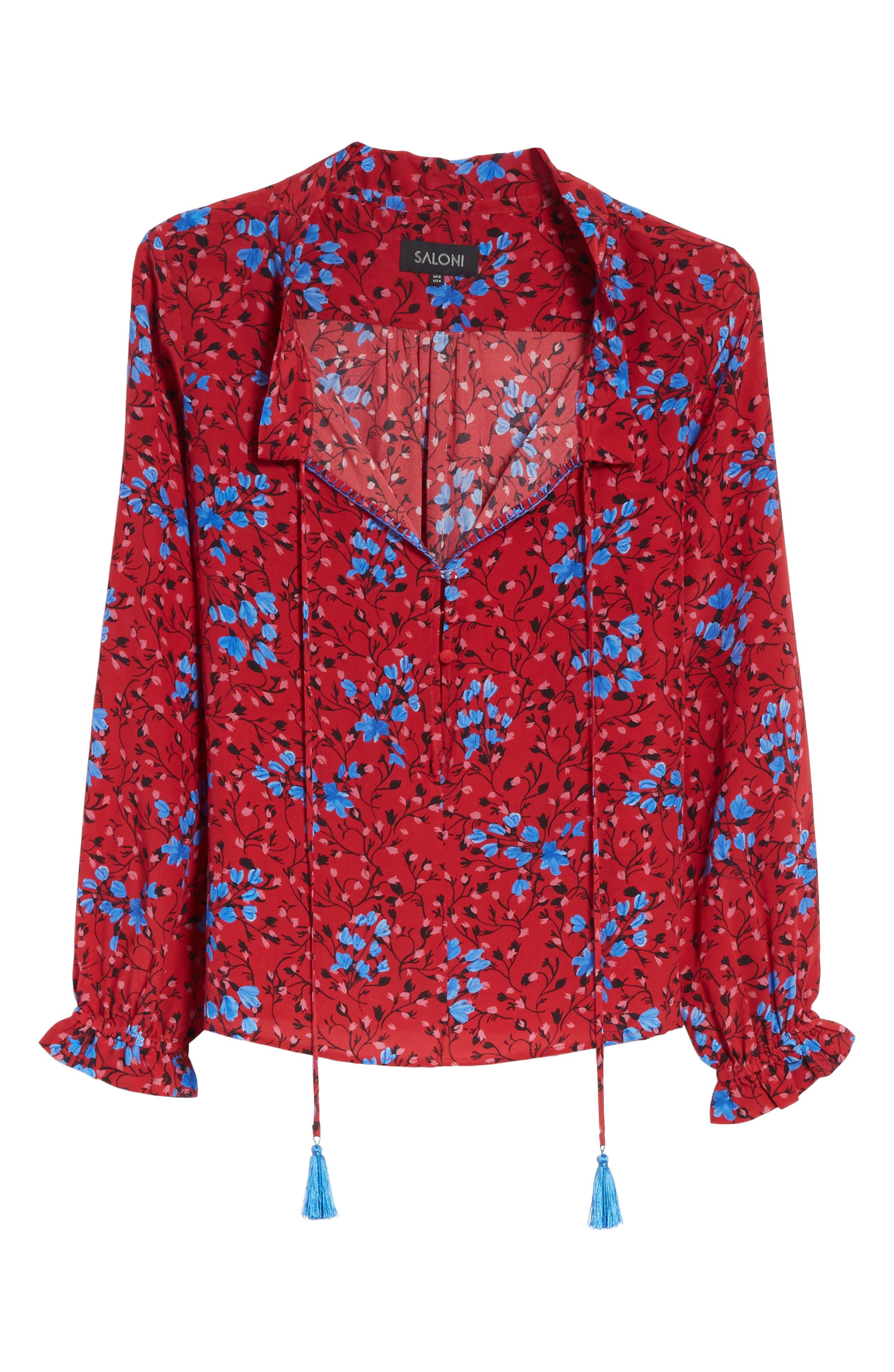 Ali Floral Print Silk Top,                             Alternate thumbnail 6, color,                             Scarlet Posey