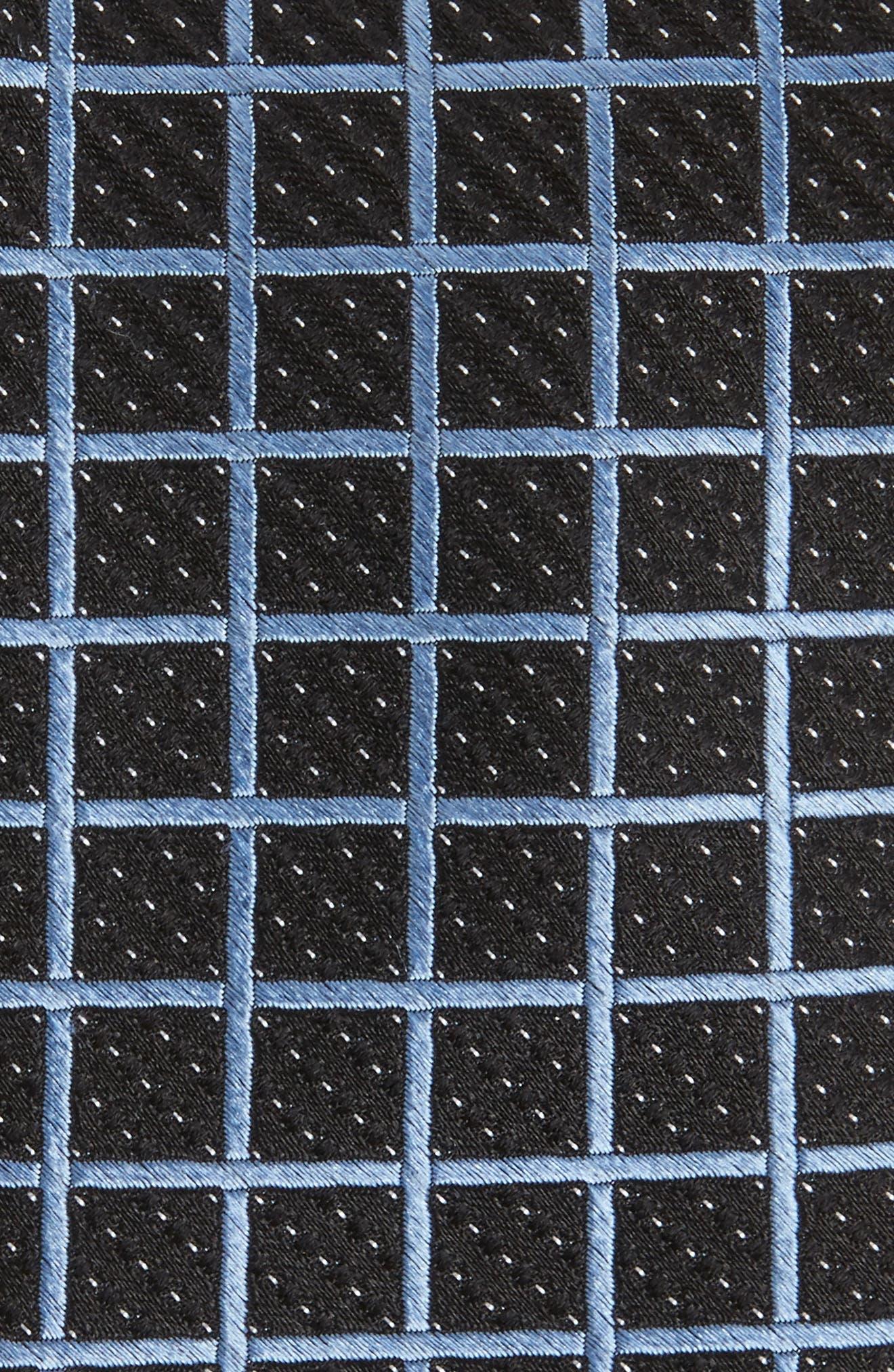 Tattersall Silk Tie,                             Alternate thumbnail 2, color,                             Black