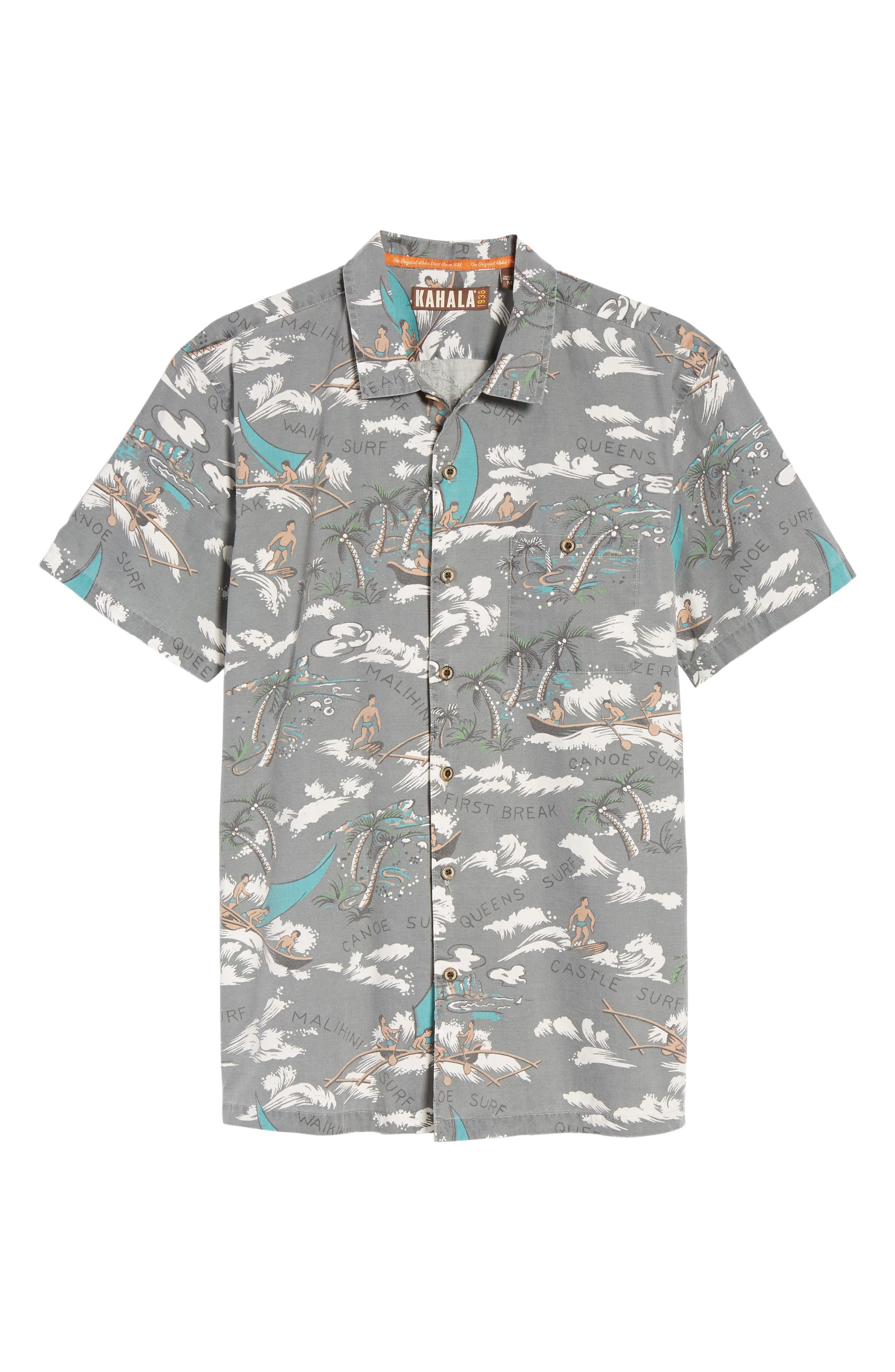 Malihini Trim Fit Print Sport Shirt,                             Alternate thumbnail 6, color,                             Grey