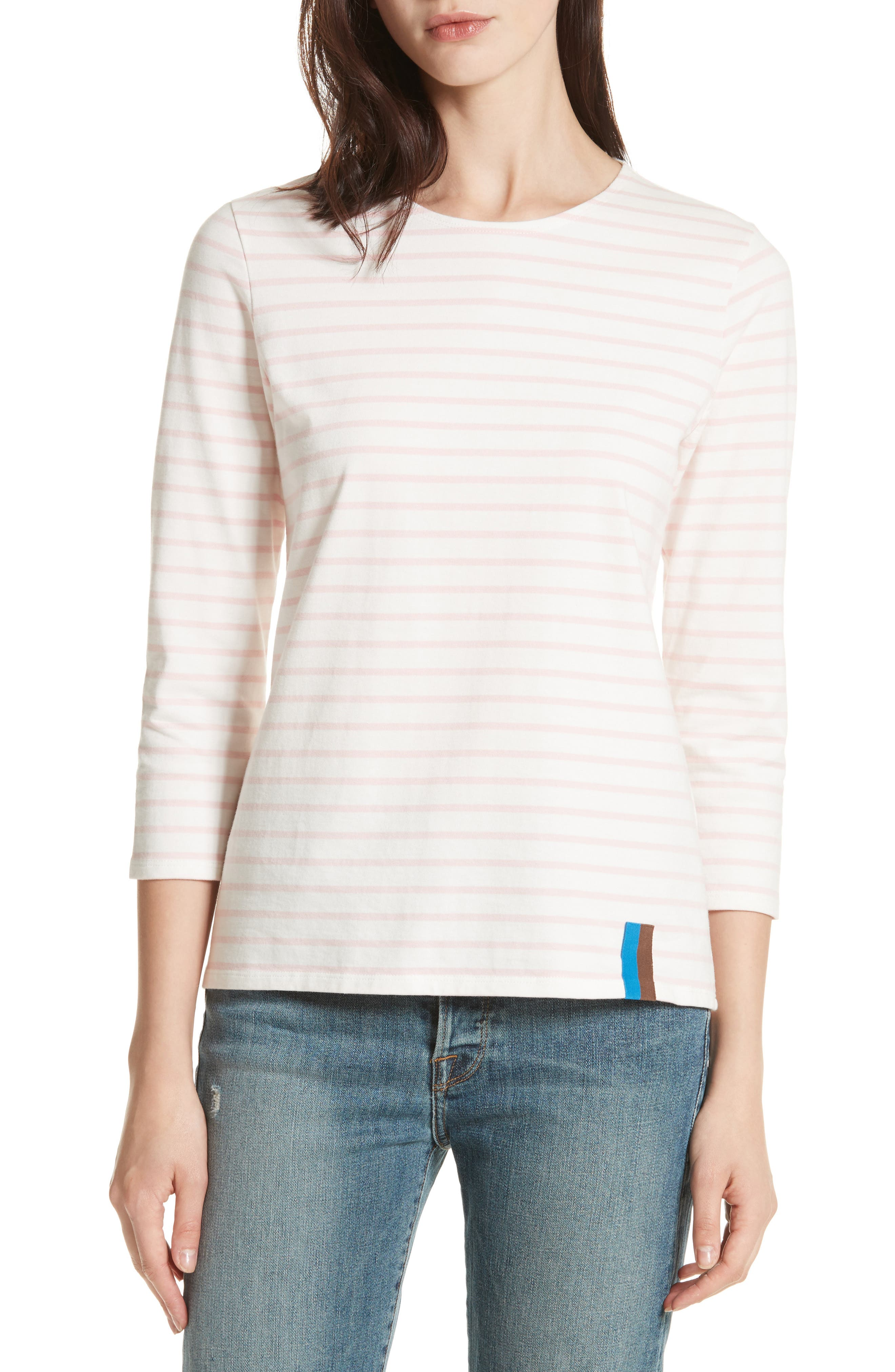 The Classic Stripe Tee,                         Main,                         color, White/ Pink