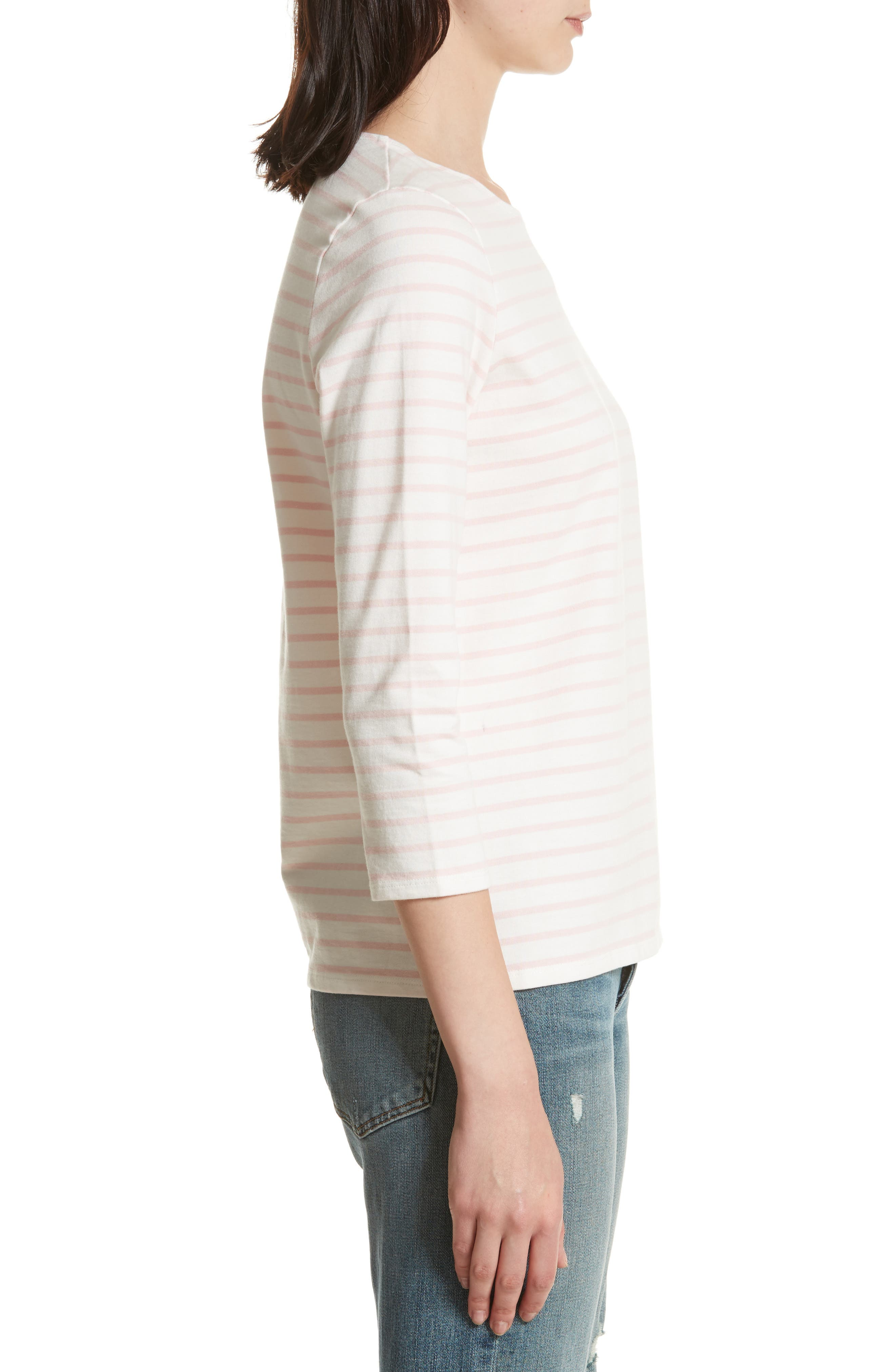 The Classic Stripe Tee,                             Alternate thumbnail 3, color,                             White/ Pink