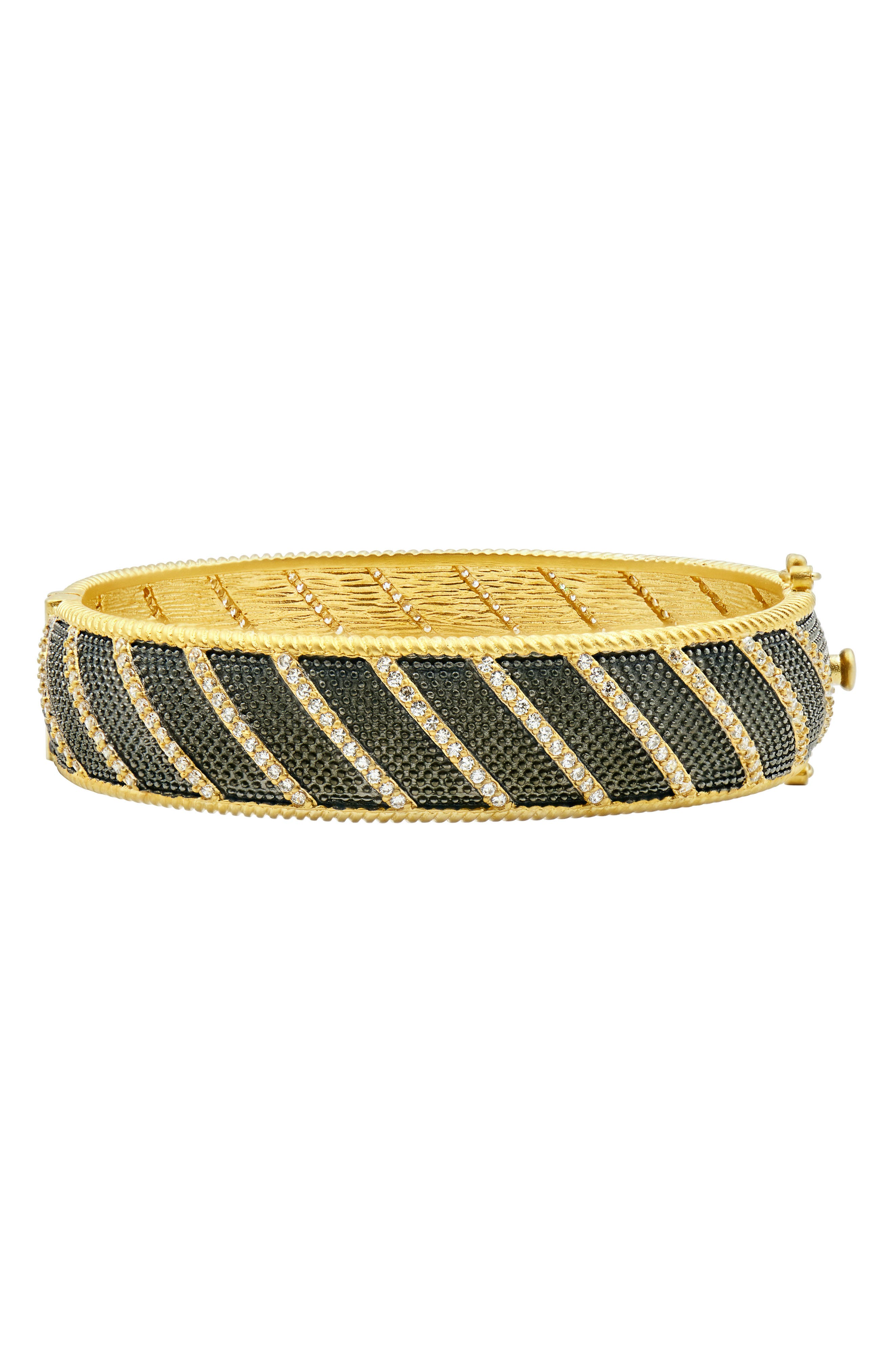 Textured Ornaments Wide Hinge Bangle,                             Main thumbnail 1, color,                             Black/ Gold
