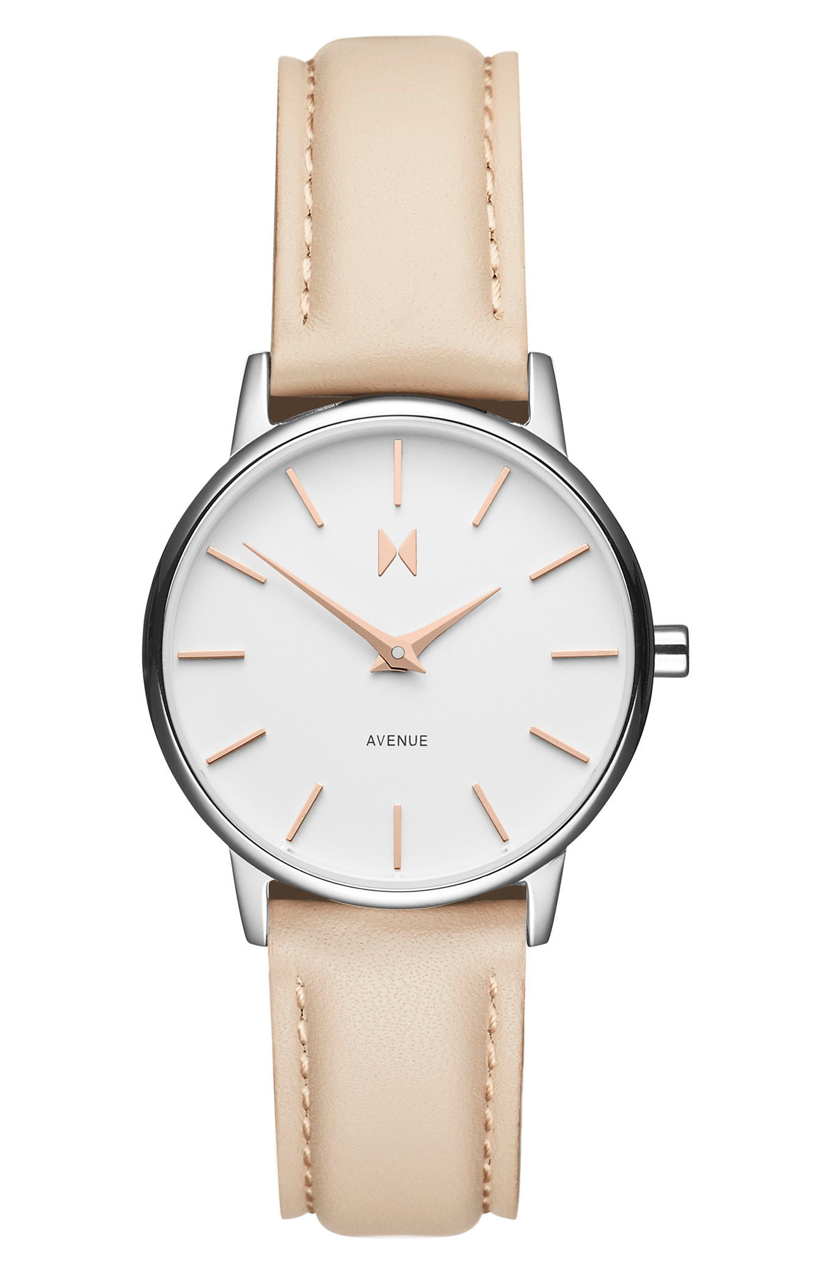 Belamar Leather Strap Watch, 28mm,                         Main,                         color, Creme/ White/ Silver