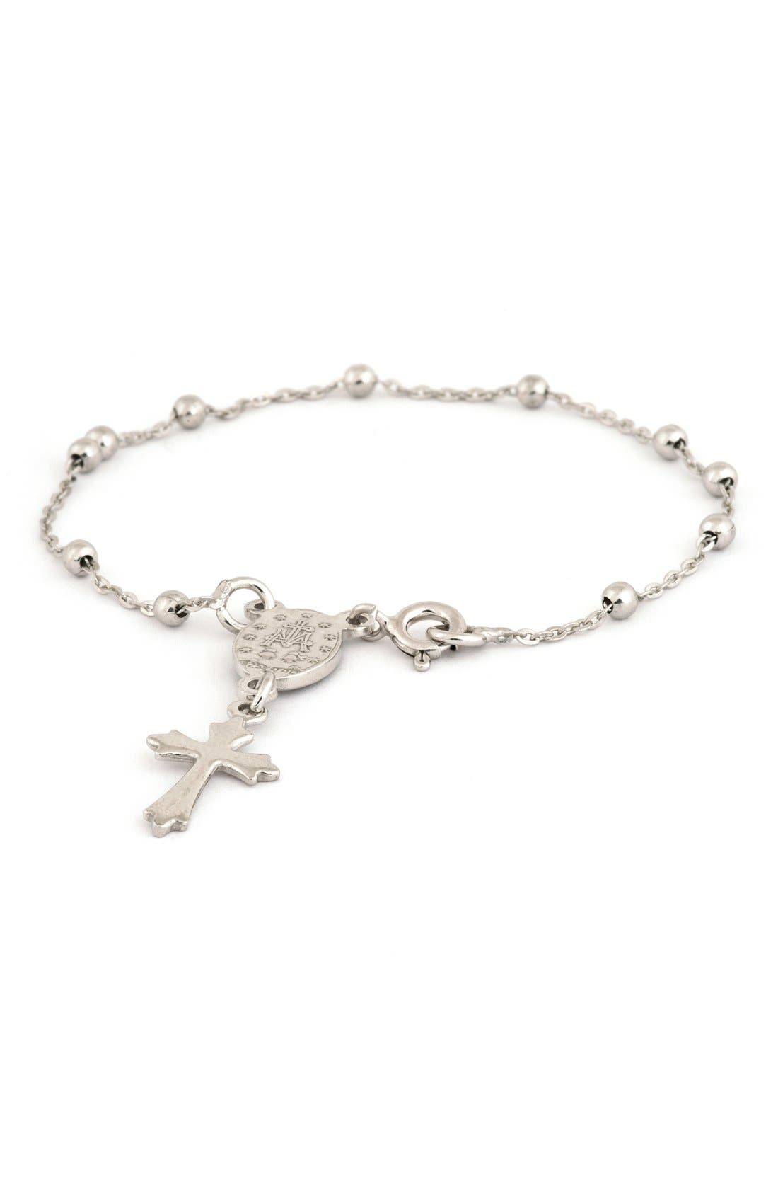 Cross & Miraculous Medal Sterling Silver Charm Bracelet,                         Main,                         color, None