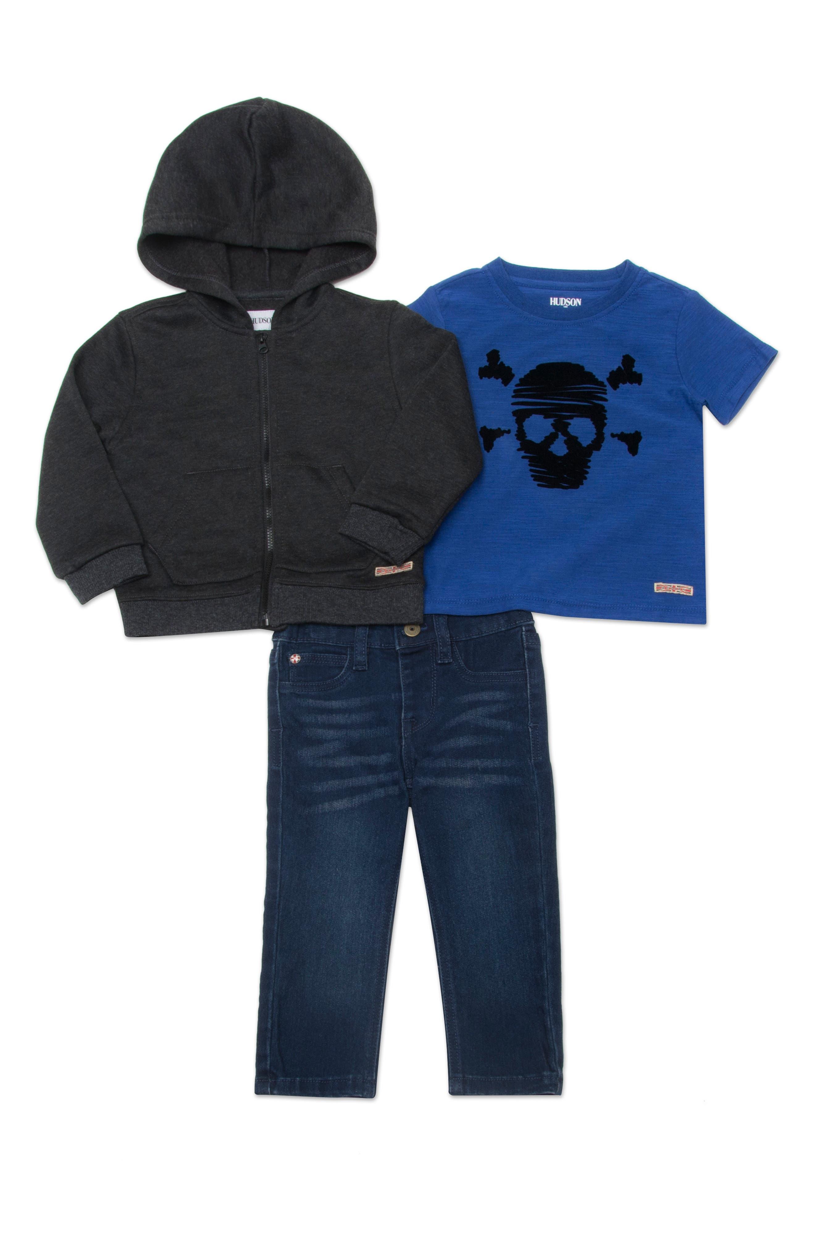 hudson kids zip front hoodie graphic tshirt u0026 jeans set baby boys