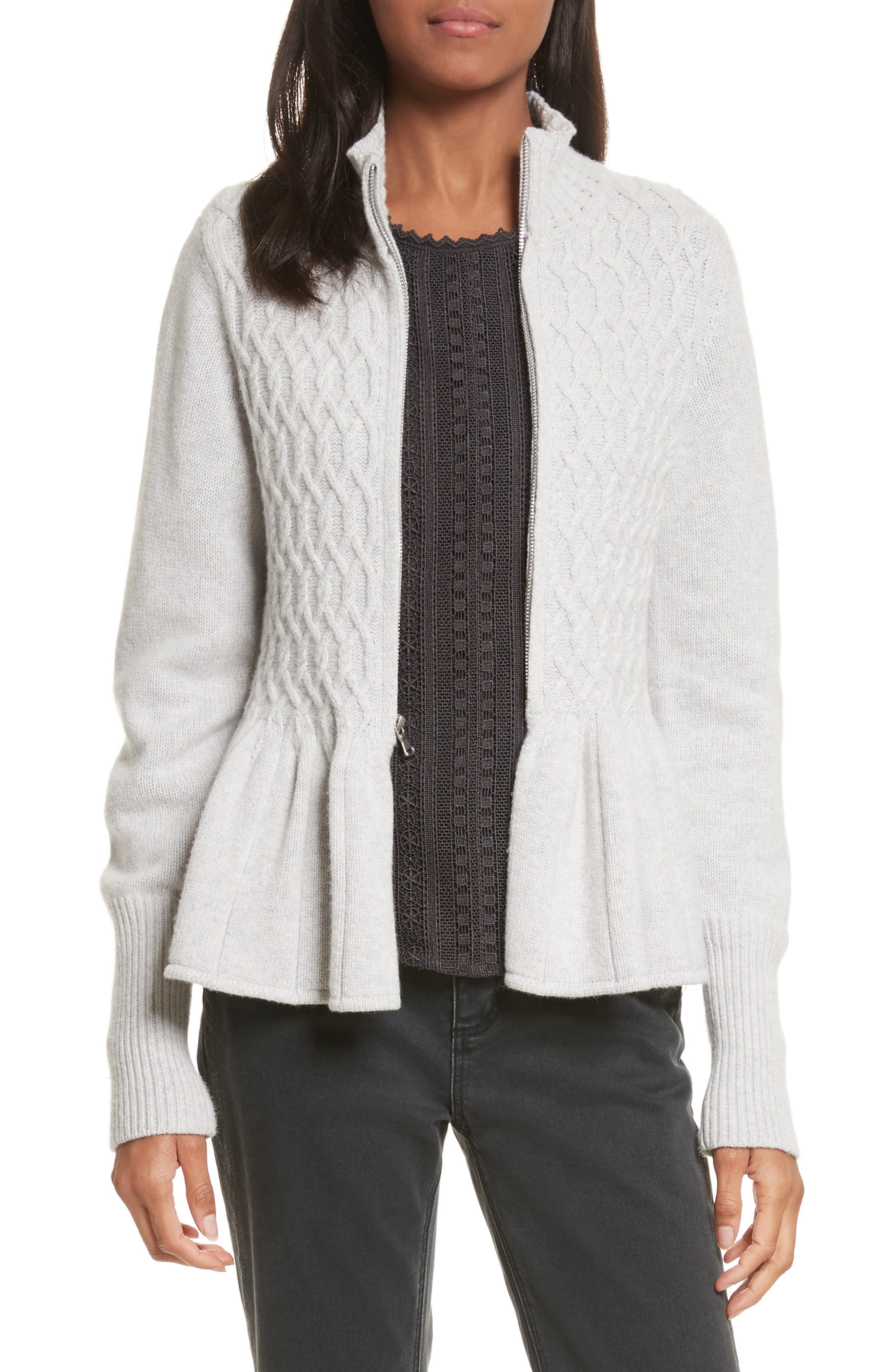 Cable Knit Front Zip Cardigan,                         Main,                         color, Light Heather Grey