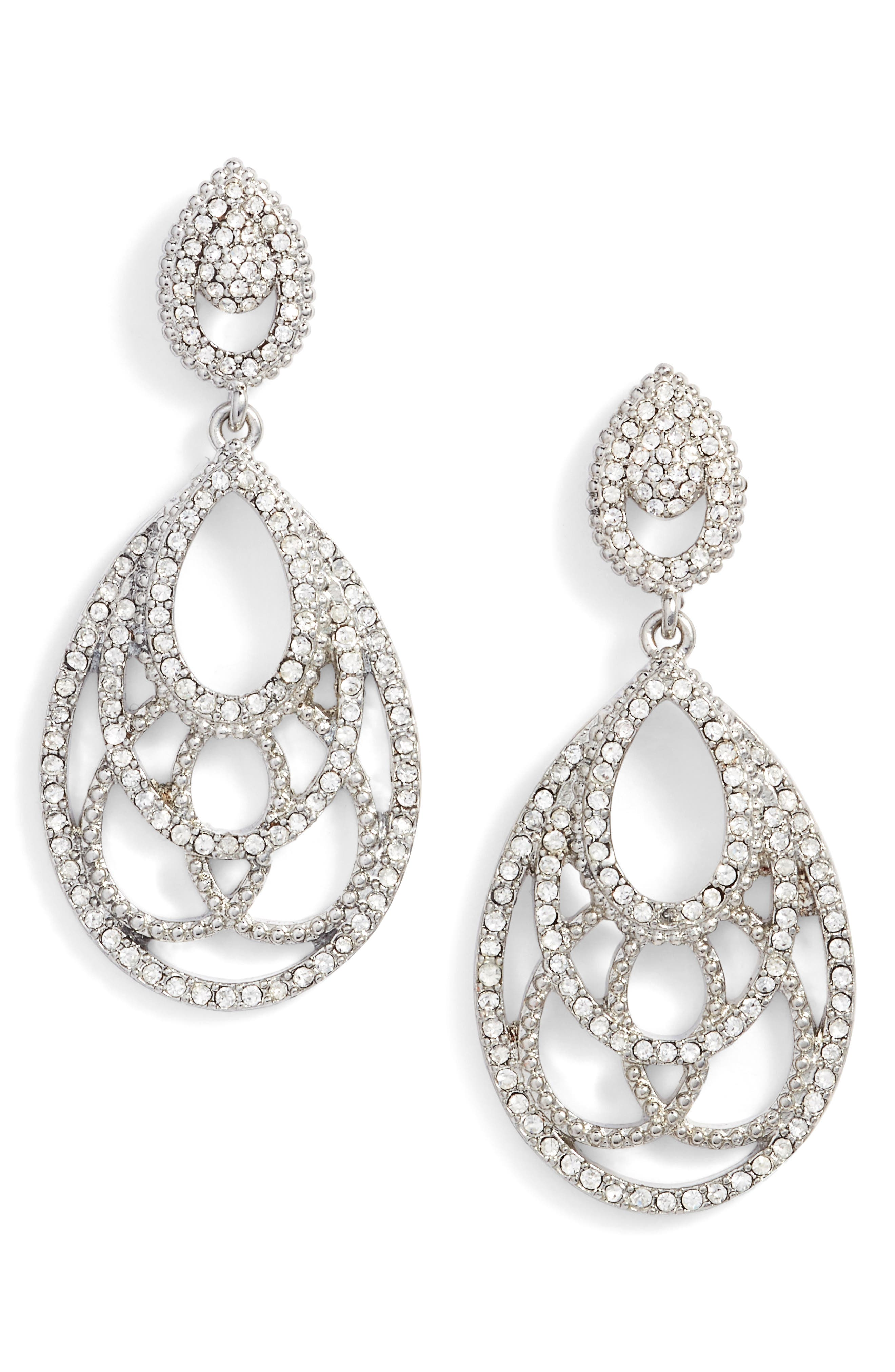 Openwork Crystal Drop Earrings,                             Main thumbnail 1, color,                             Crystal/ Silver