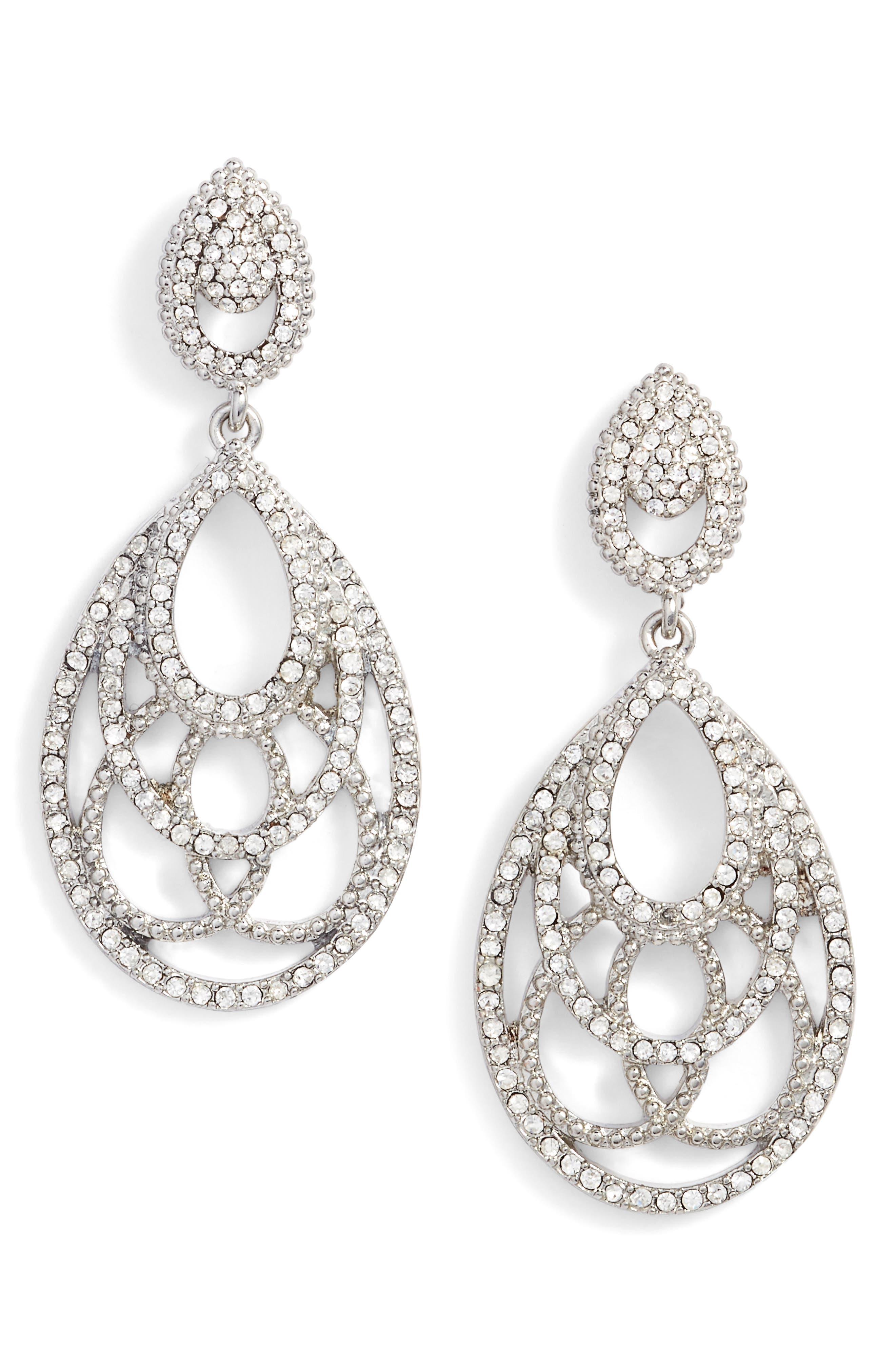 Openwork Crystal Drop Earrings,                         Main,                         color, Crystal/ Silver