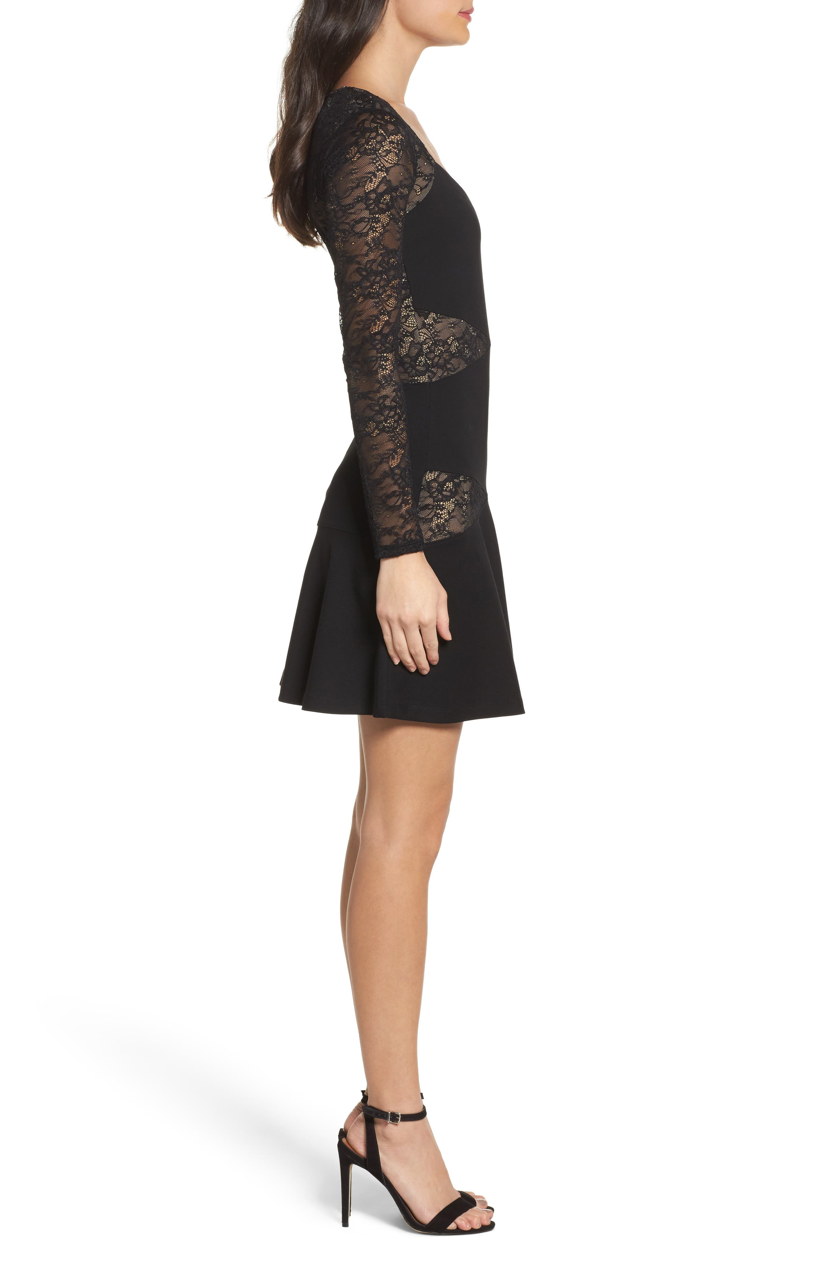 L'Arc Ponte Knit Fit & Flare Dress,                             Alternate thumbnail 4, color,                             Black