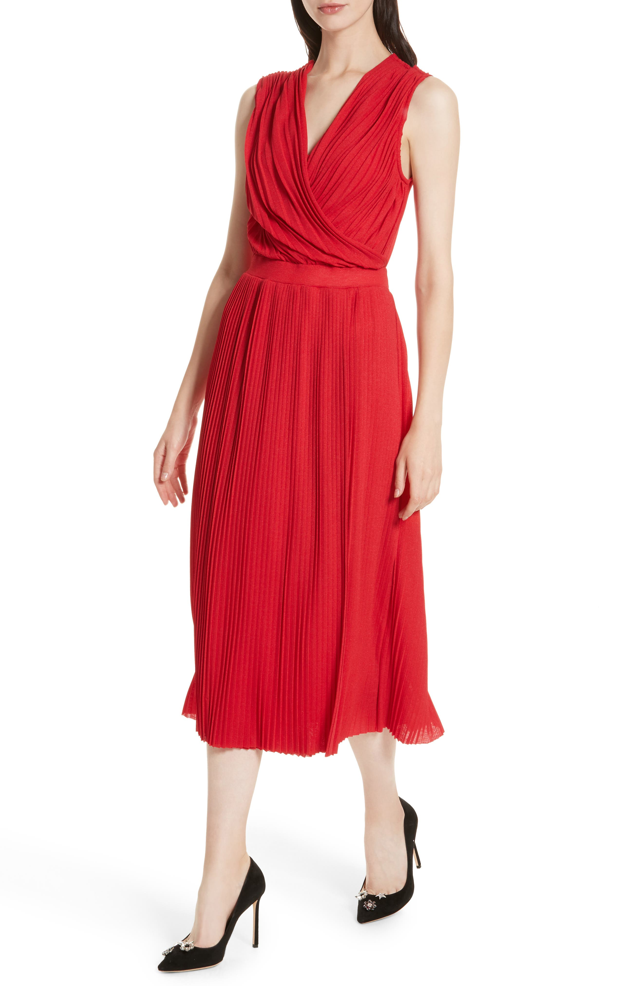 Surplice Fit & Flare Dress,                             Alternate thumbnail 4, color,                             Red Lacquer