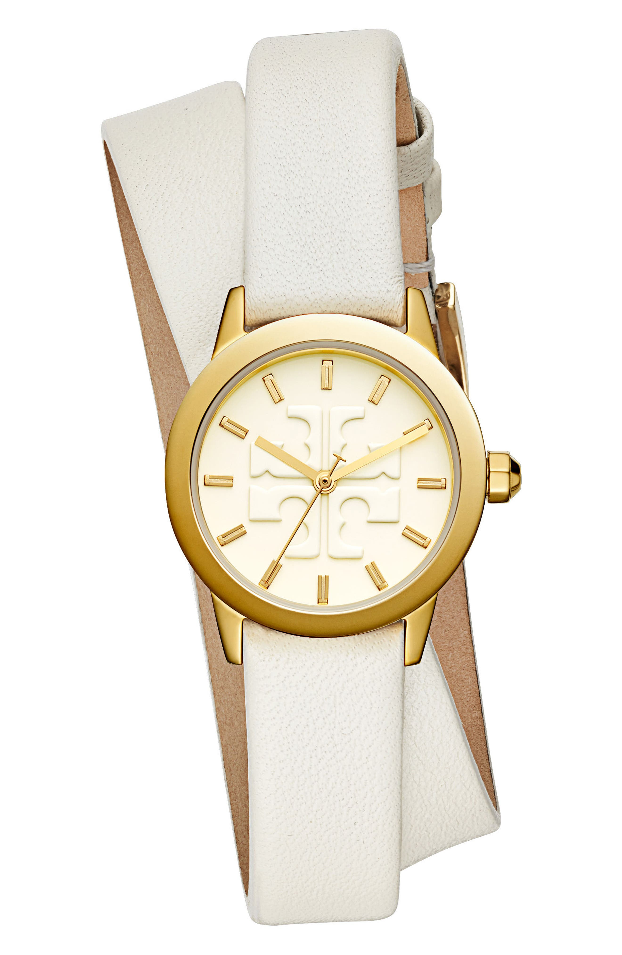 Gigi Double Wrap Leather Strap Watch, 28mm,                             Main thumbnail 1, color,                             Ivory/ Gold