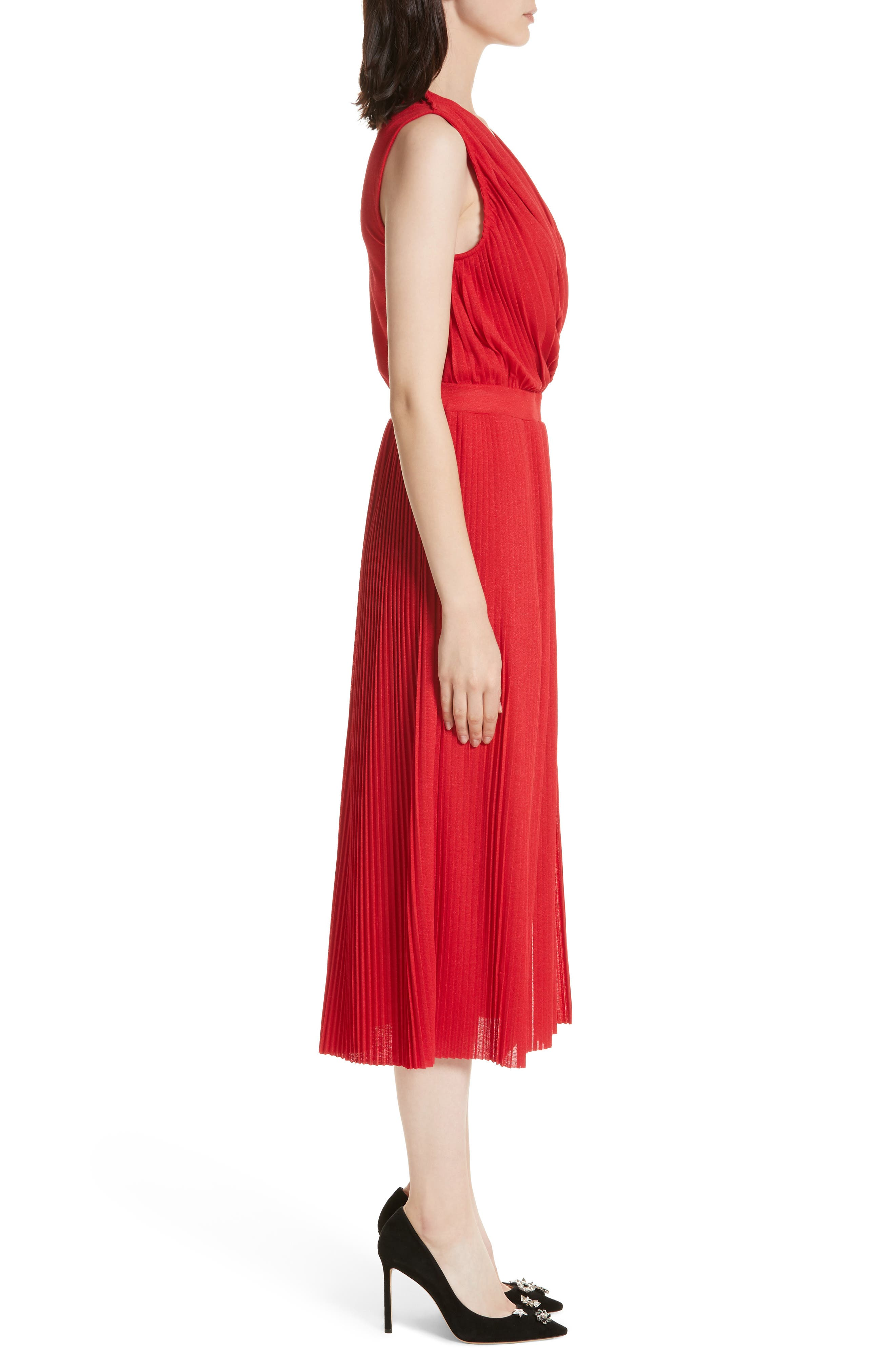 Surplice Fit & Flare Dress,                             Alternate thumbnail 3, color,                             Red Lacquer