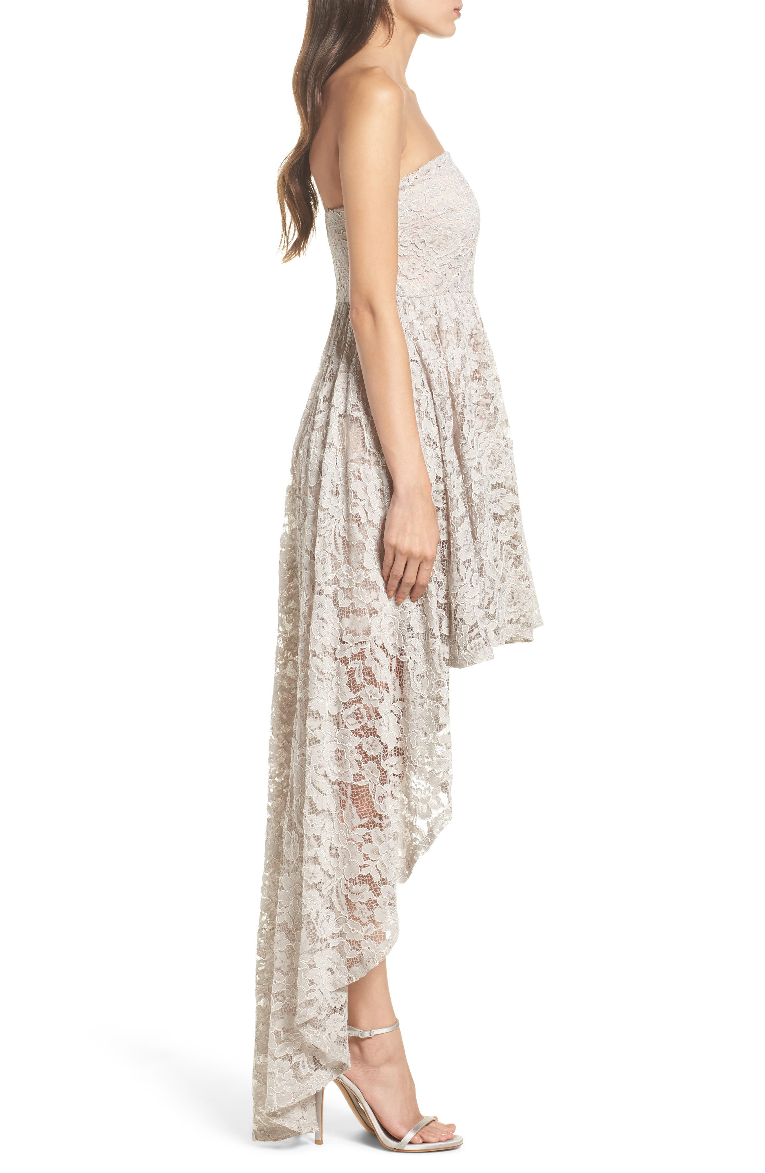 Alternate Image 3  - Sequin Hearts Strapless Lace High/Low Dress