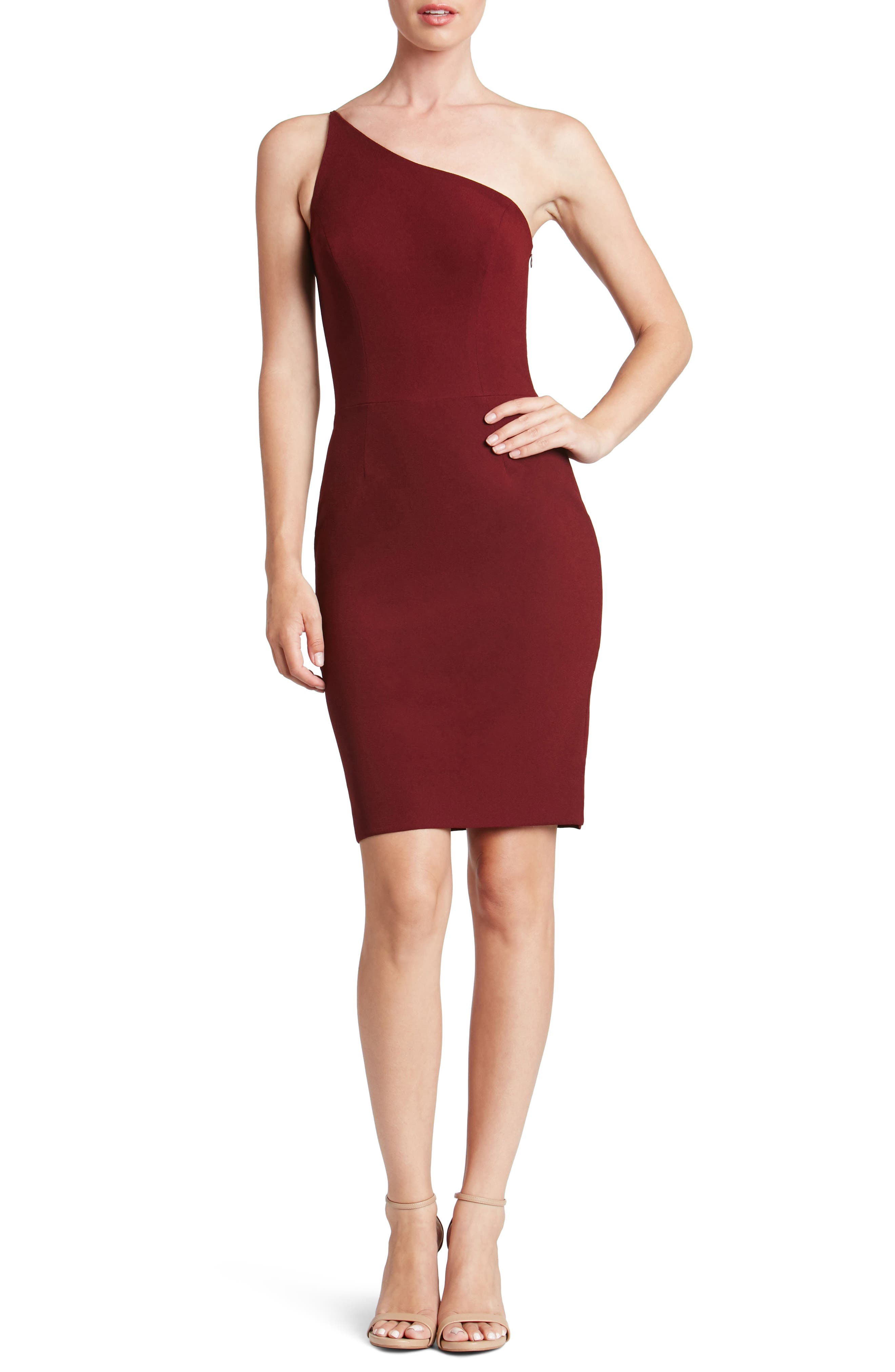 Jennifer One-Shoulder Body-Con Dress,                         Main,                         color, Burgundy