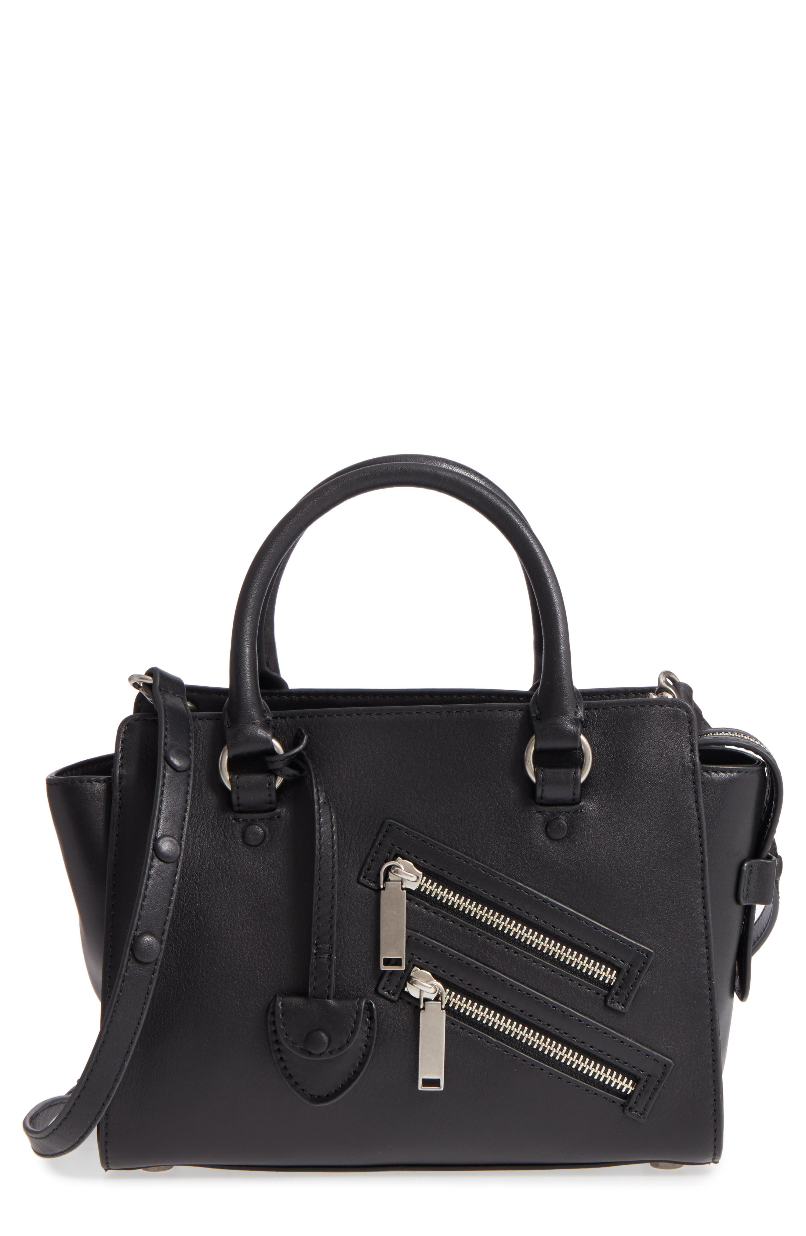 Small Jamie Leather Satchel,                         Main,                         color, Black