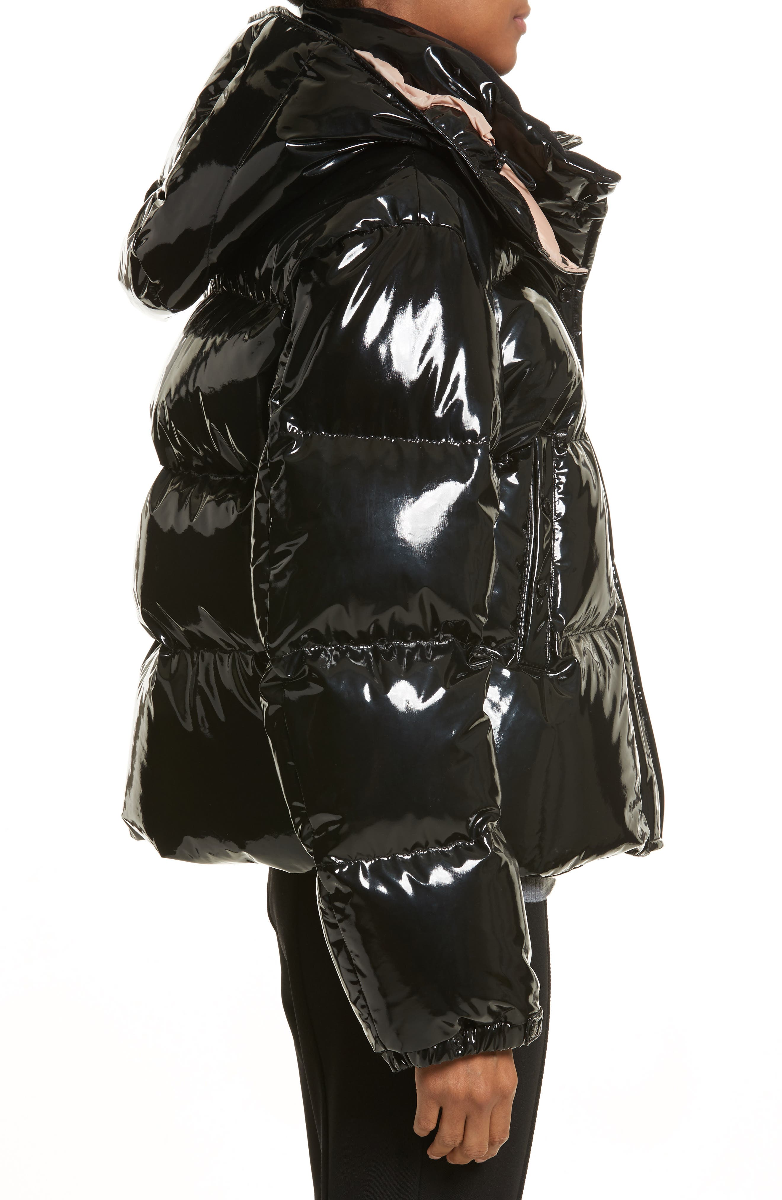 Gaura Shiny Down Quilted Puffer Coat,                             Alternate thumbnail 3, color,                             Black