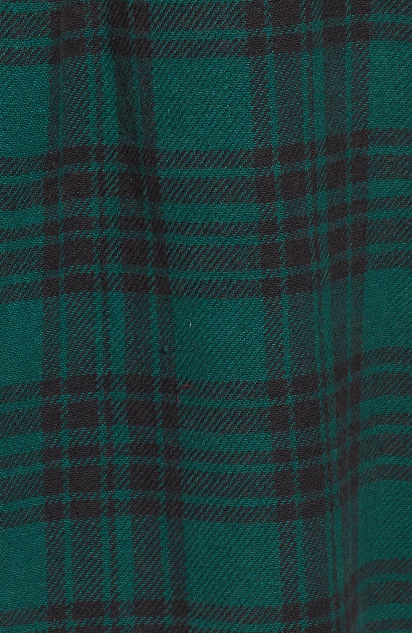 In a Haze Plaid Cotton Shirt,                             Alternate thumbnail 5, color,                             Garden Green