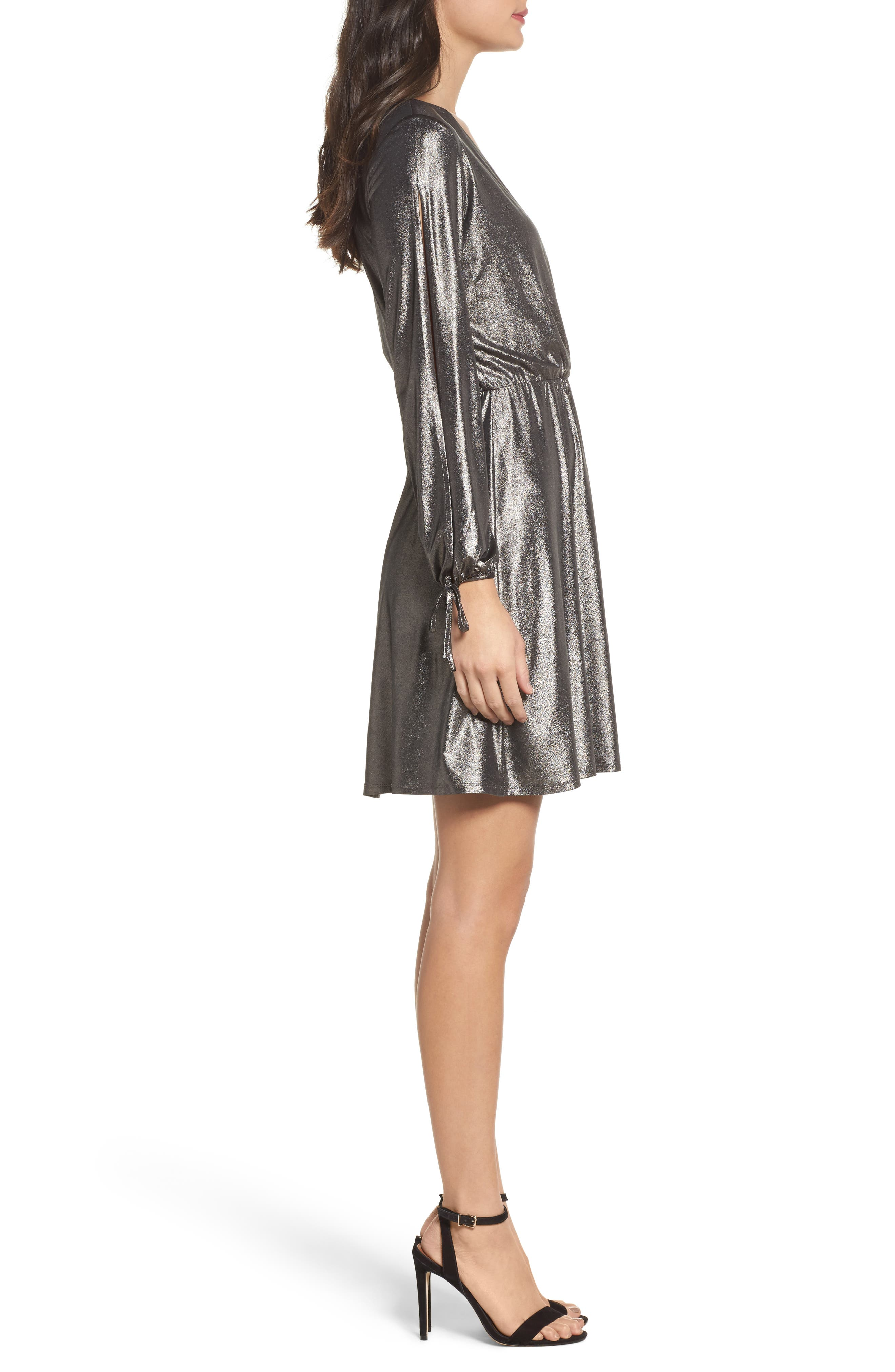 Metallic Faux Wrap Dress,                             Alternate thumbnail 3, color,                             Metallic Grey