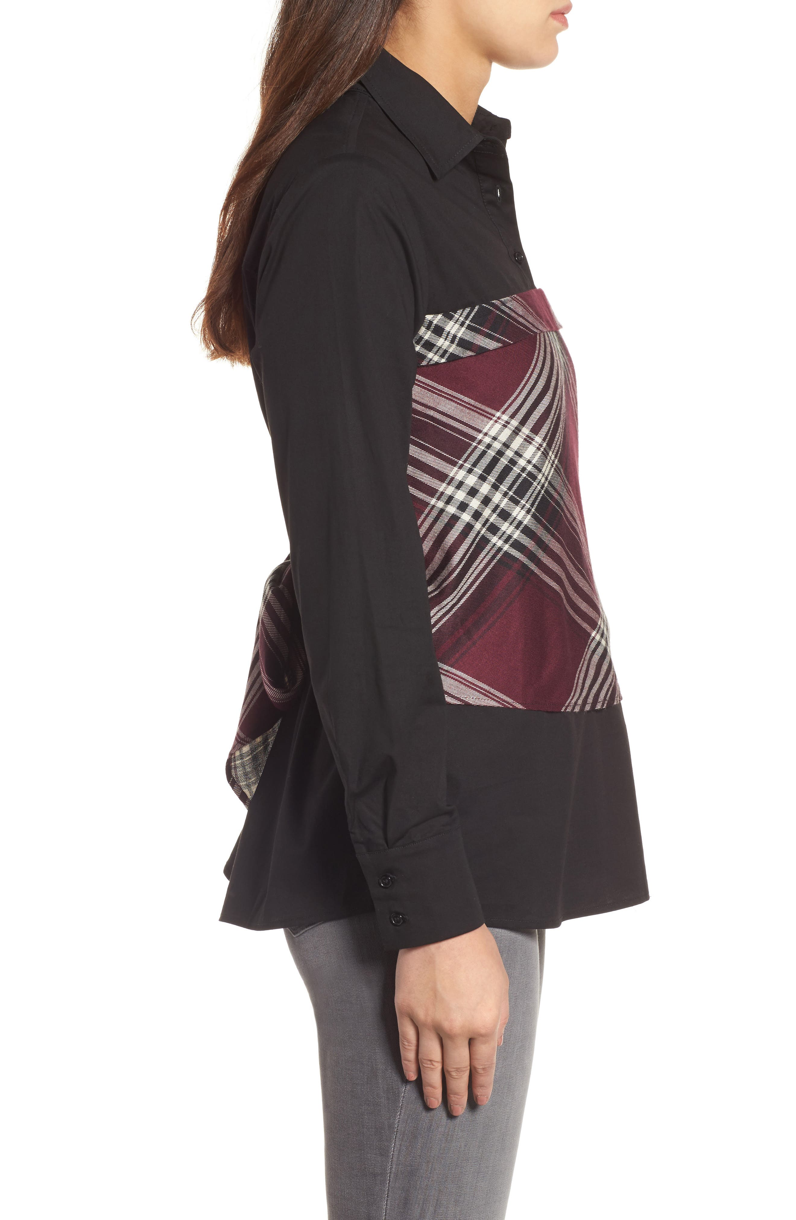 Plaid Corset Shirt,                             Alternate thumbnail 3, color,                             Wine/ Black Plaid/ Black