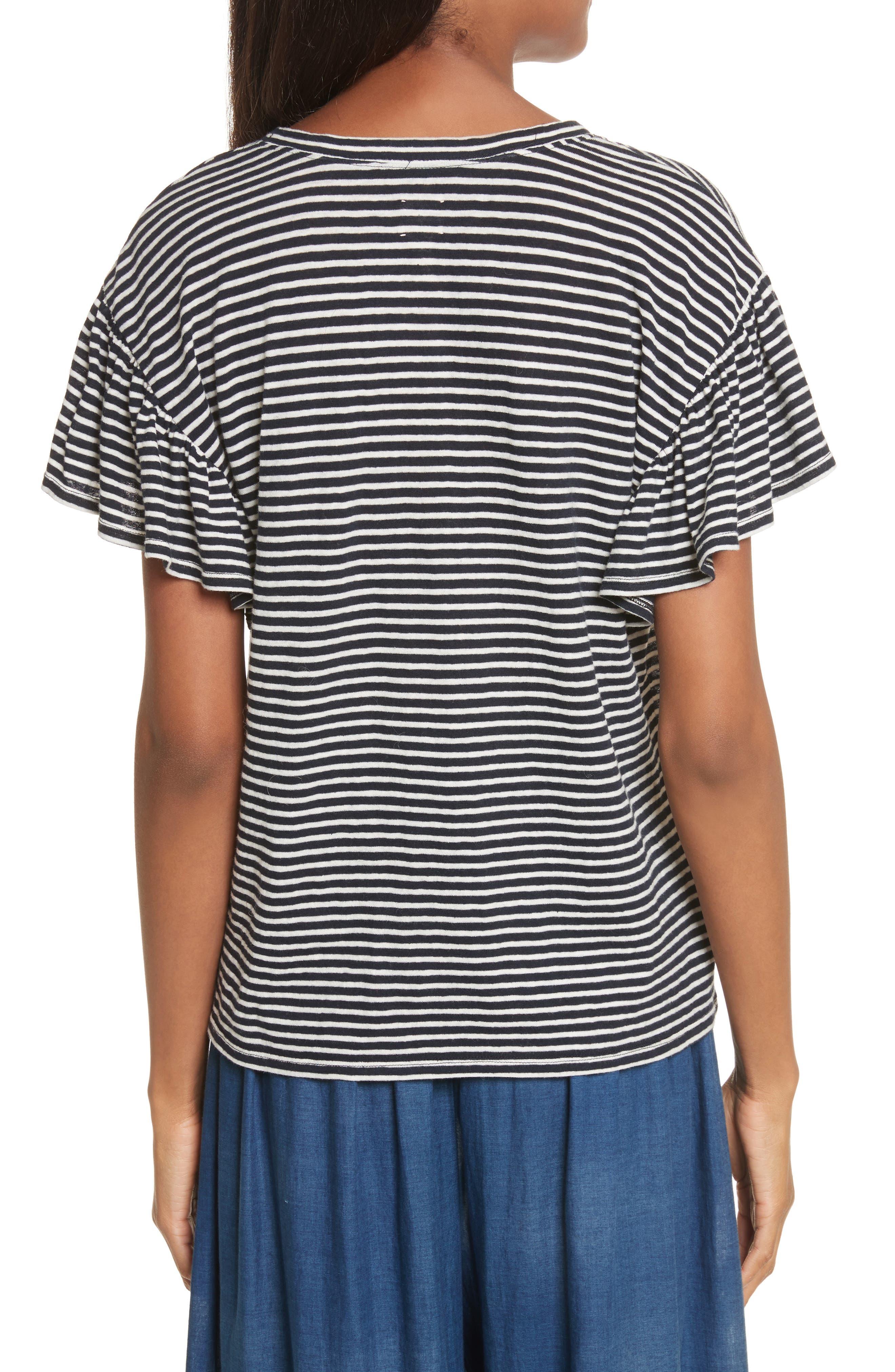 Stripe Jersey Top,                             Alternate thumbnail 2, color,                             Navy Combo