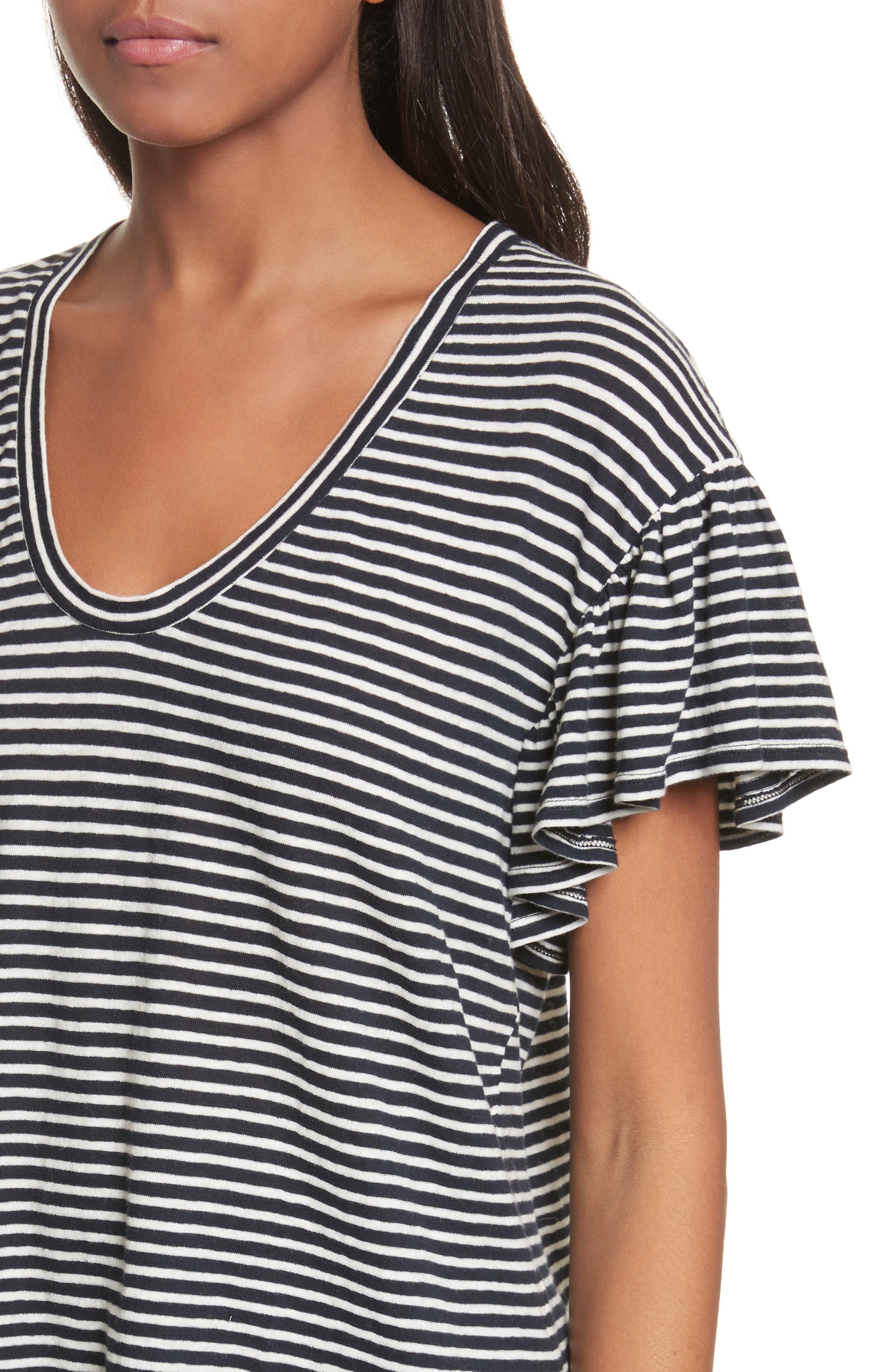 Stripe Jersey Top,                             Alternate thumbnail 4, color,                             Navy Combo