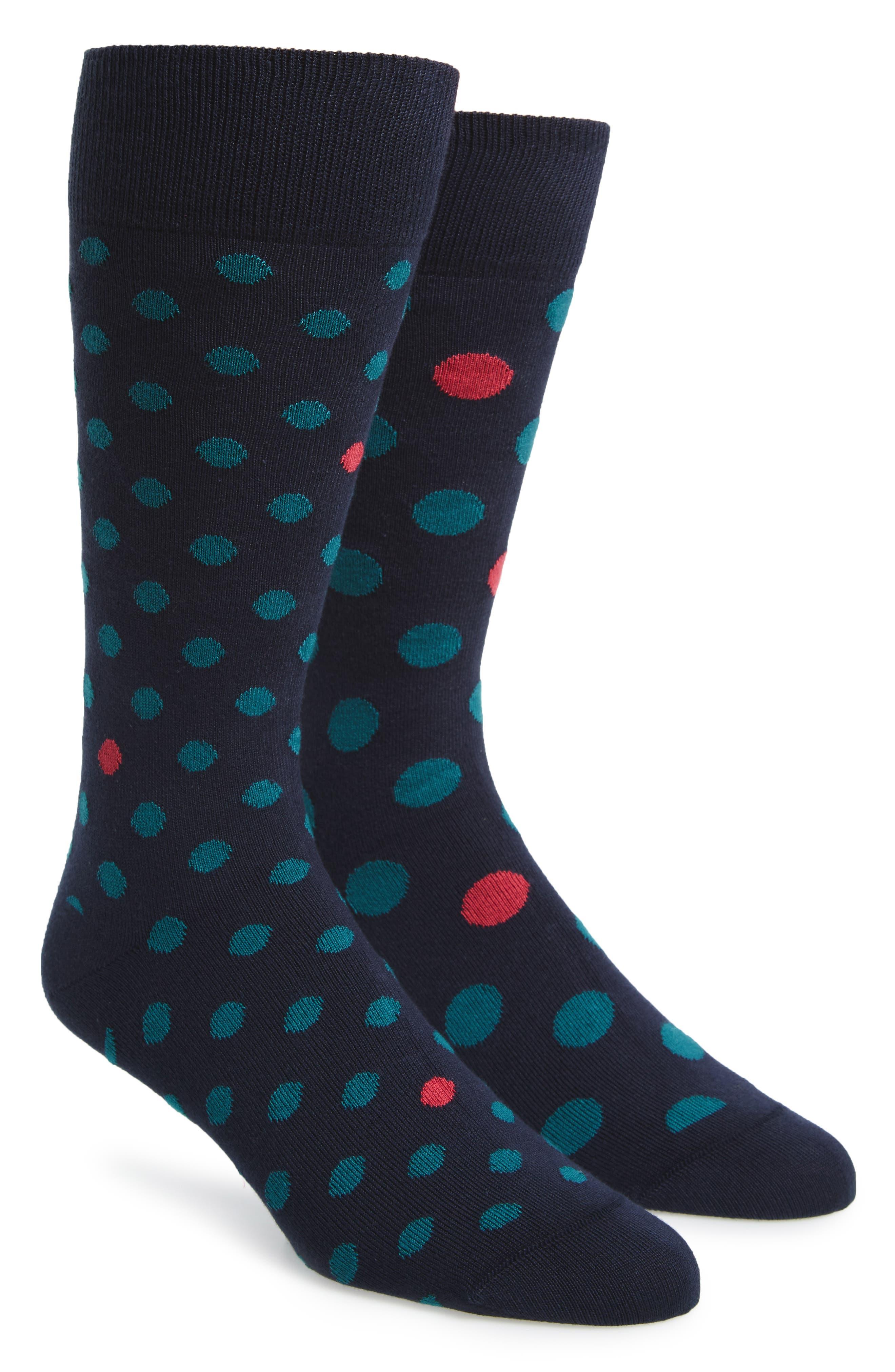 Odd Polka Dot Socks,                             Main thumbnail 1, color,                             Blue/ Pink