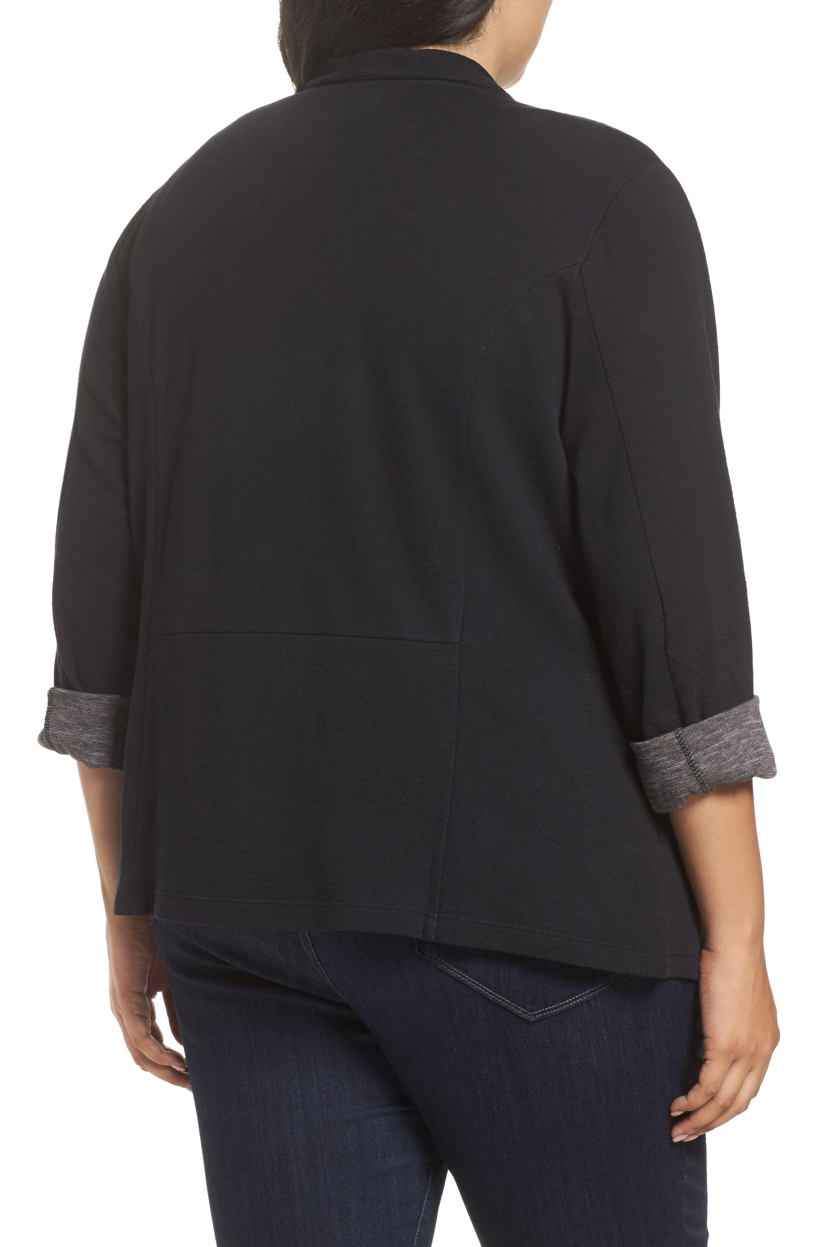 Wing Collar Knit Blazer,                             Alternate thumbnail 2, color,                             Black- Grey Pattern
