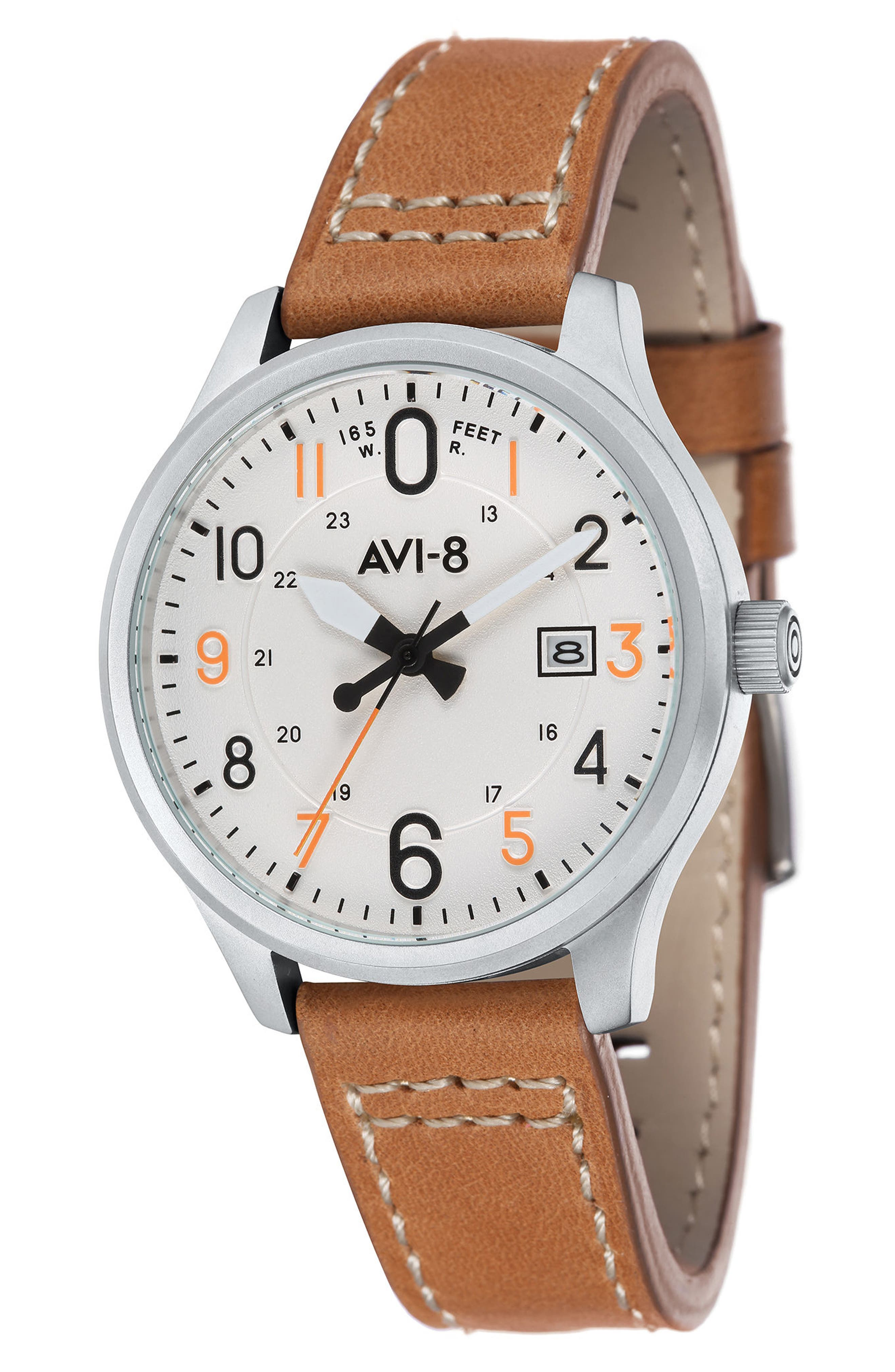 Hawker Hurricane Leather Strap Watch, 43mm,                             Main thumbnail 1, color,                             White/ Tan