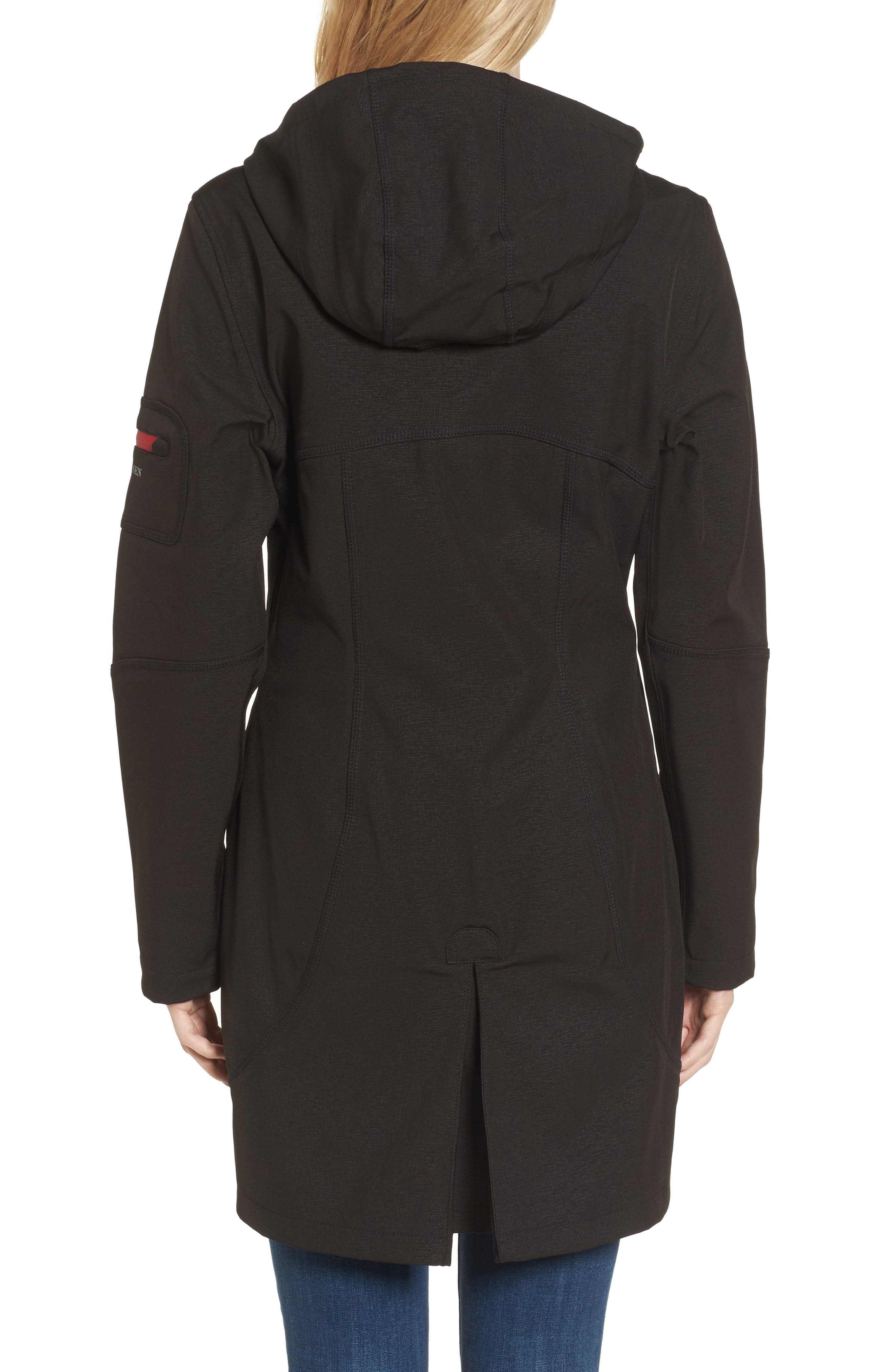 'Rain 7B' Hooded Water Resistant Coat,                             Alternate thumbnail 3, color,                             Black/ Wine