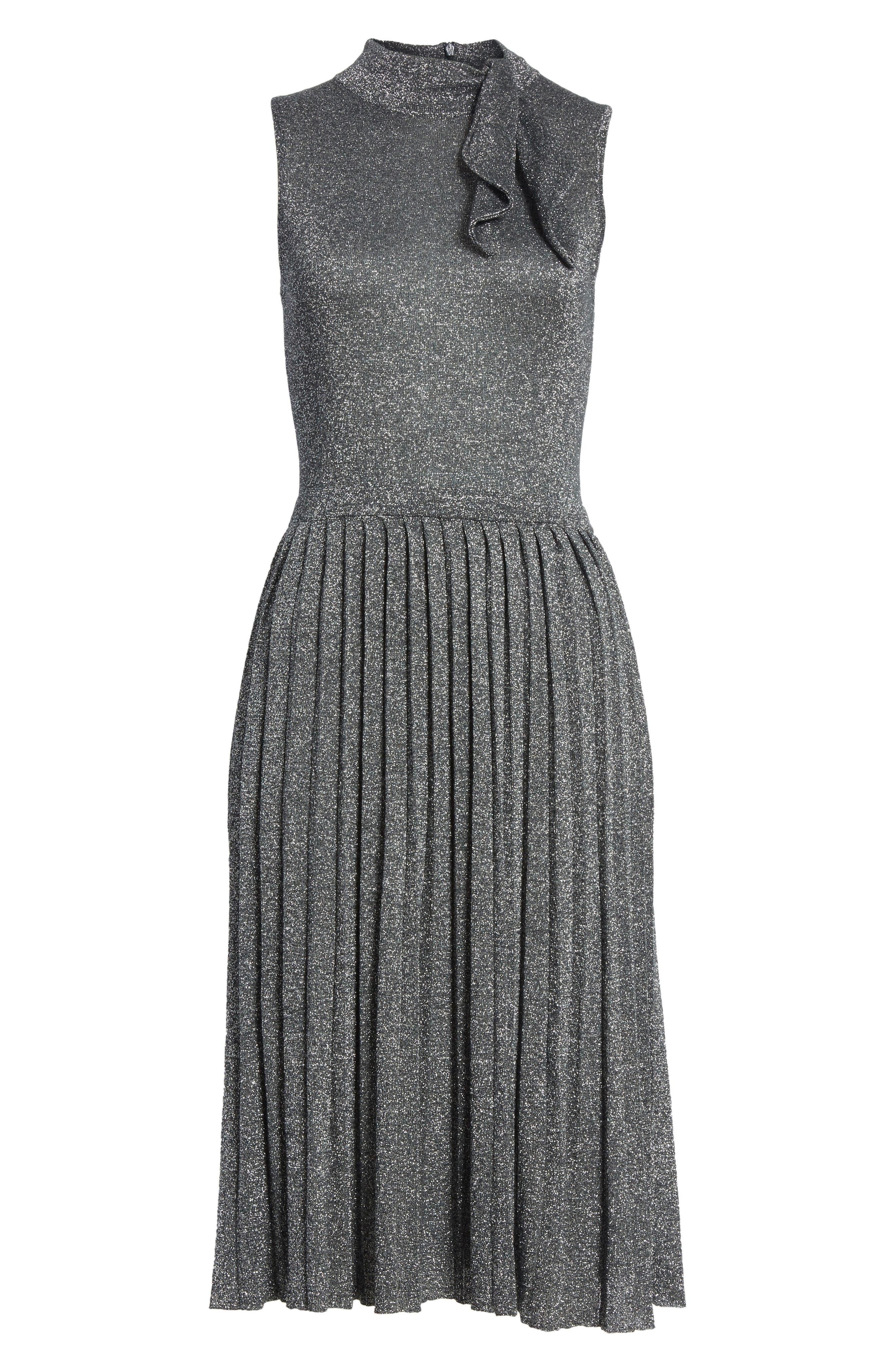metallic knot sweater dress,                             Alternate thumbnail 6, color,                             Dark Silver