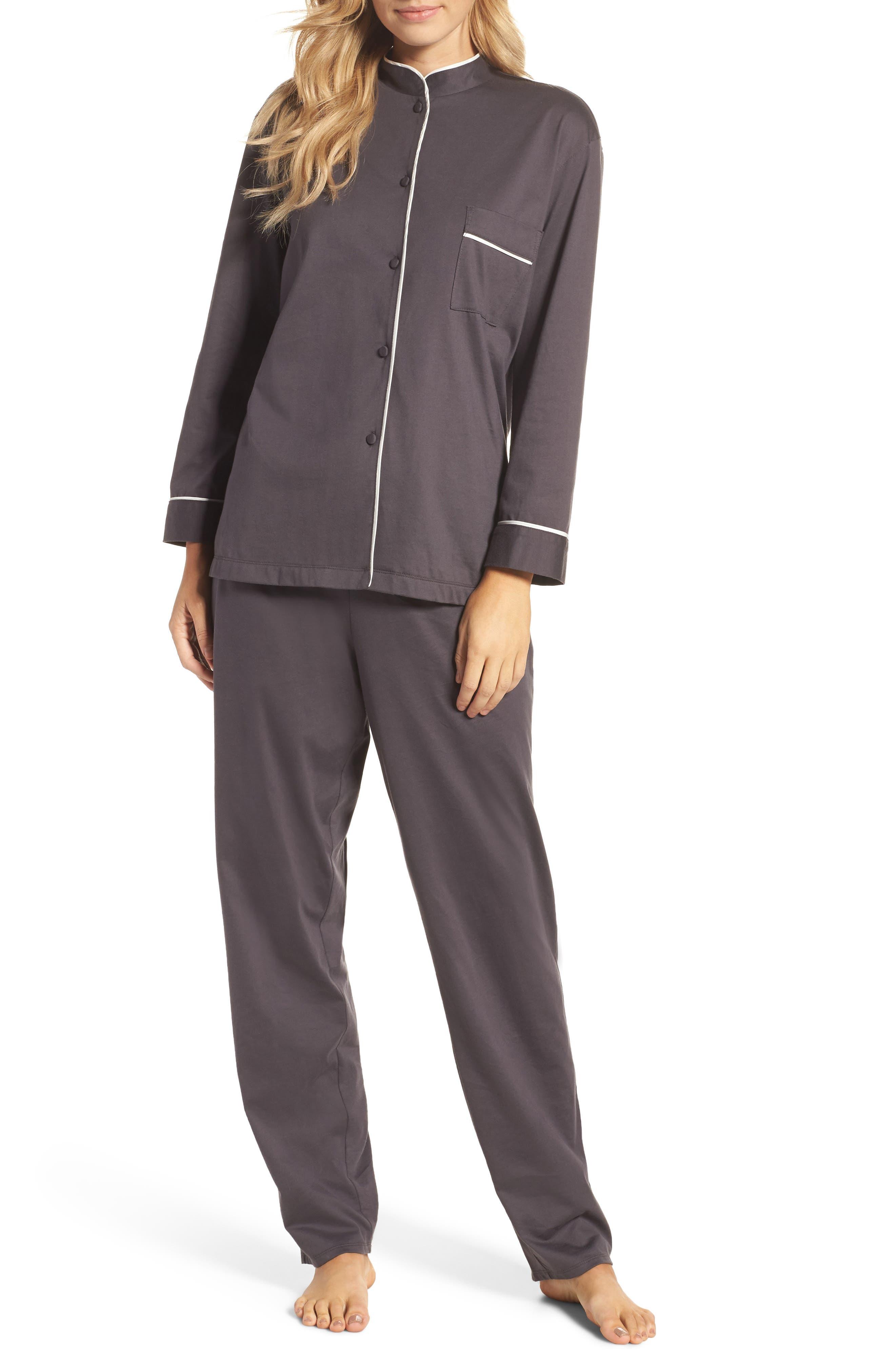 Bliss Supima<sup>®</sup> Cotton Mandarin Pajamas,                             Main thumbnail 1, color,                             Graphite