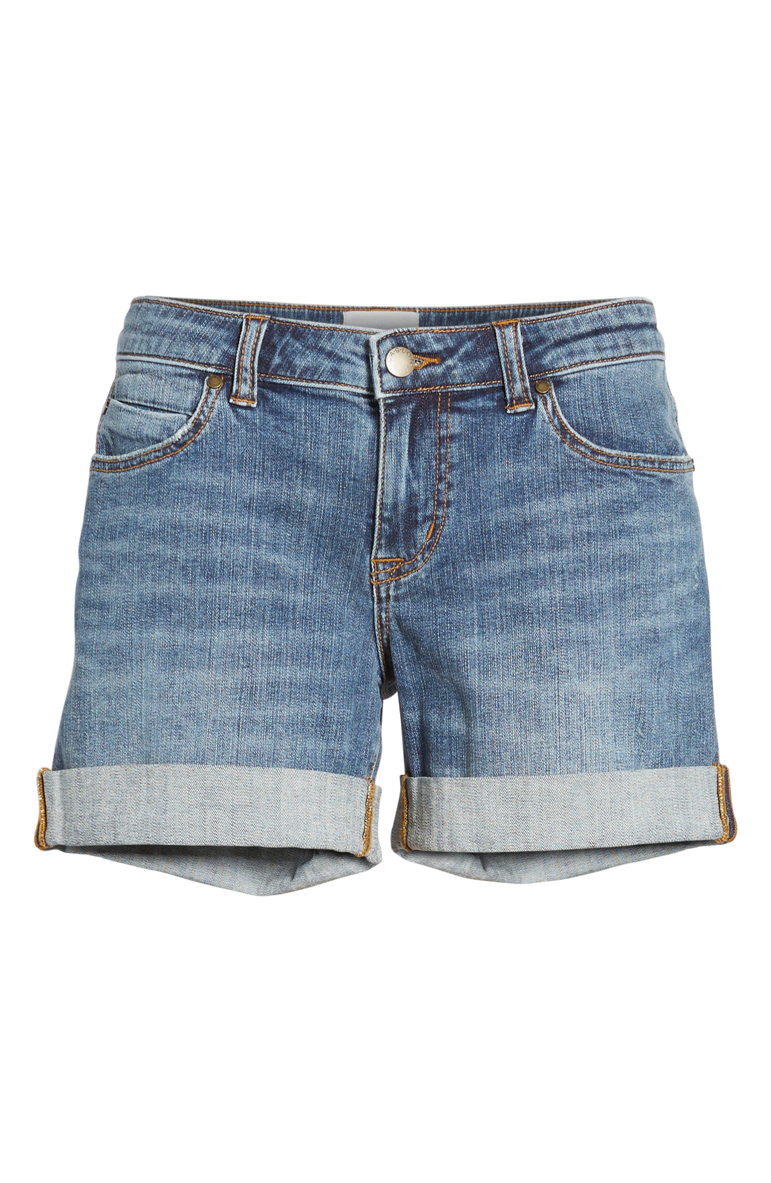 Rolled Denim Boyfriend Shorts,                             Alternate thumbnail 7, color,                             Medium Destruct