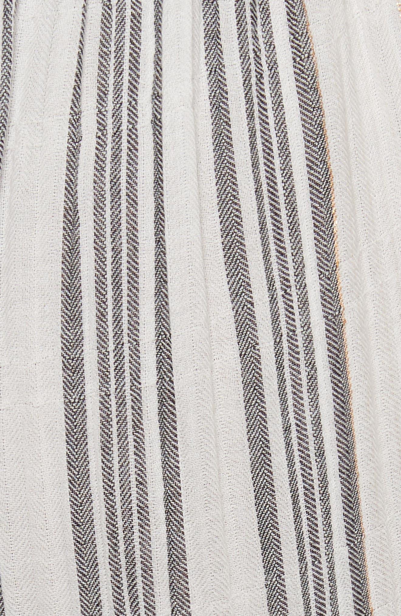 Sleeveless Gauzy Stripe Dress,                             Alternate thumbnail 5, color,                             Milk/ Washed Black Combo