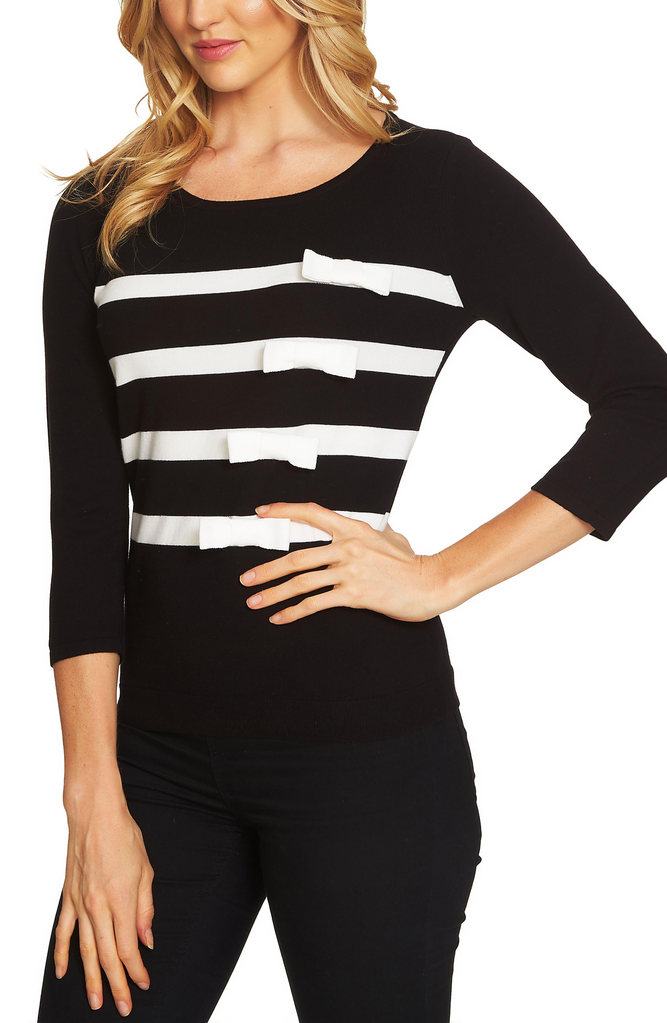 Bow Stripe Sweater,                         Main,                         color, Rich Black