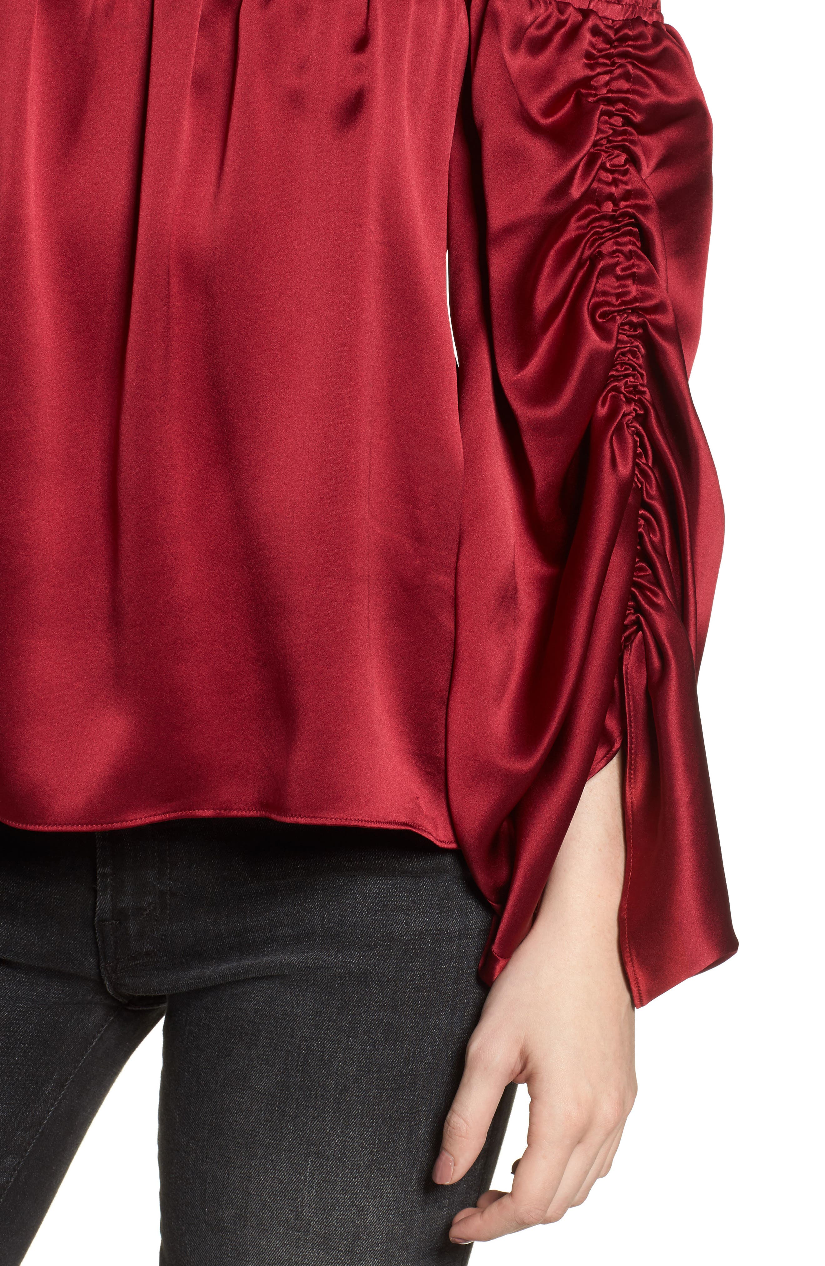 Silk Off the Shoulder Blouse,                             Alternate thumbnail 4, color,                             Adriatic