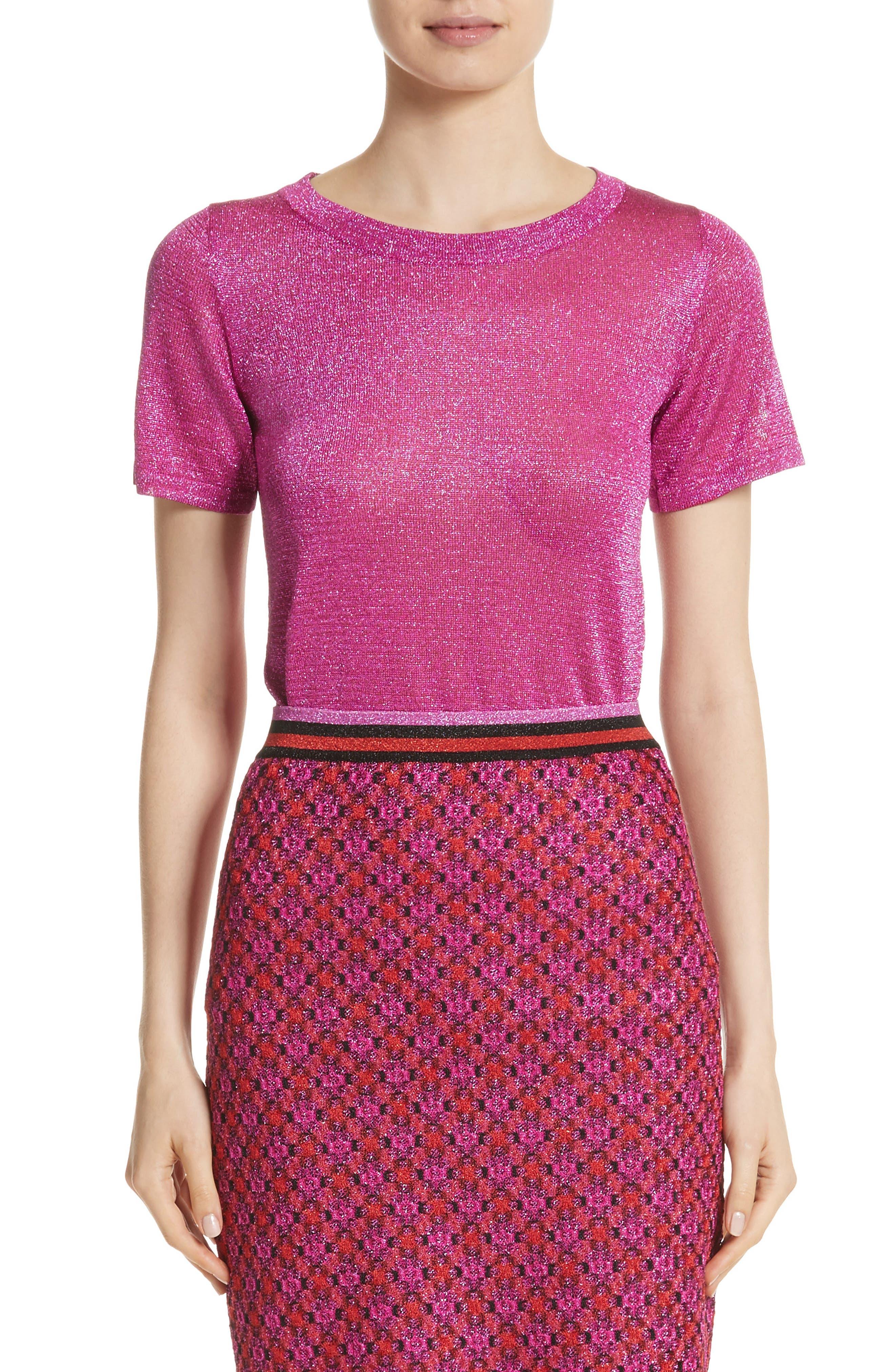 Metallic Knit Tee,                         Main,                         color, Pink