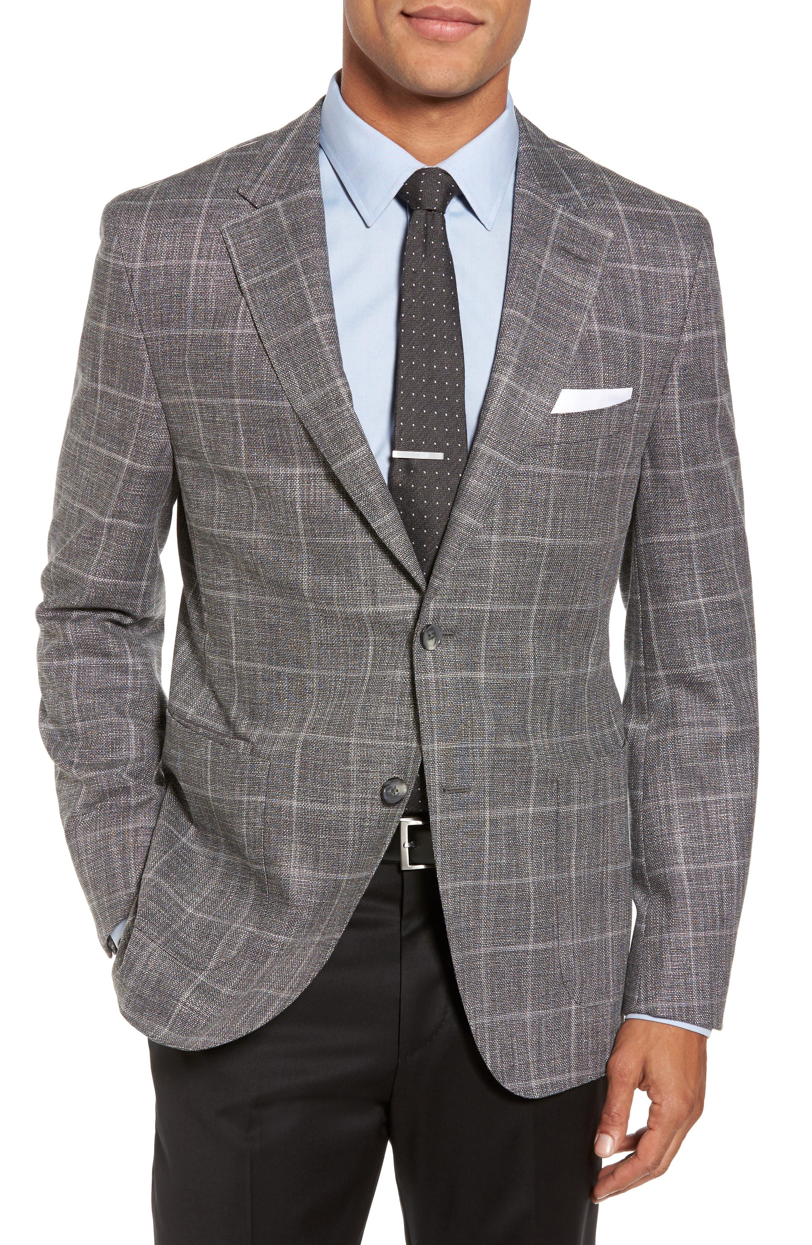 T-Naiden Trim Fit Windowpane Sport Coat,                         Main,                         color, Medium Grey
