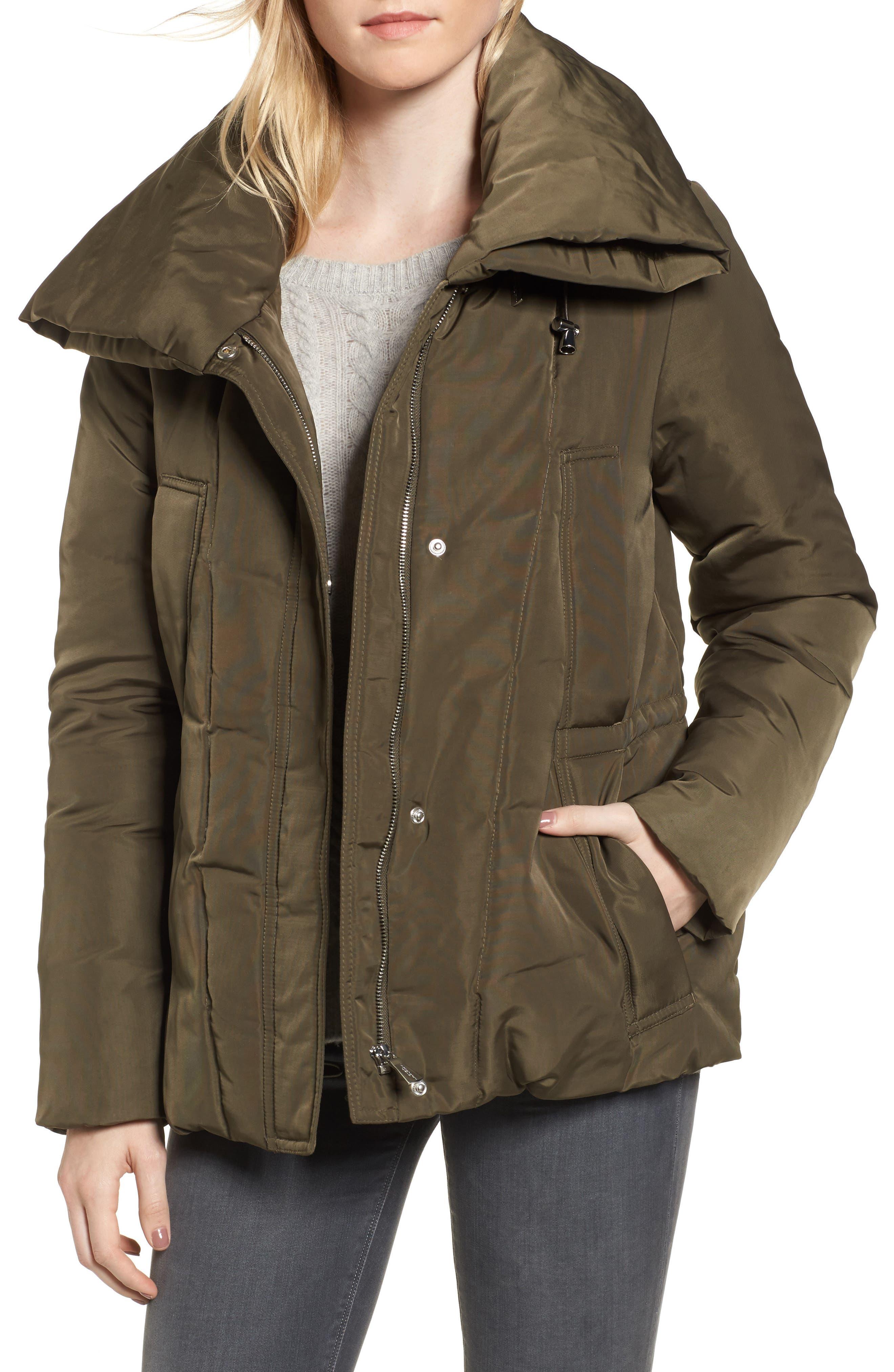 DKNY Prato Twill Wide Hood Puffer Coat