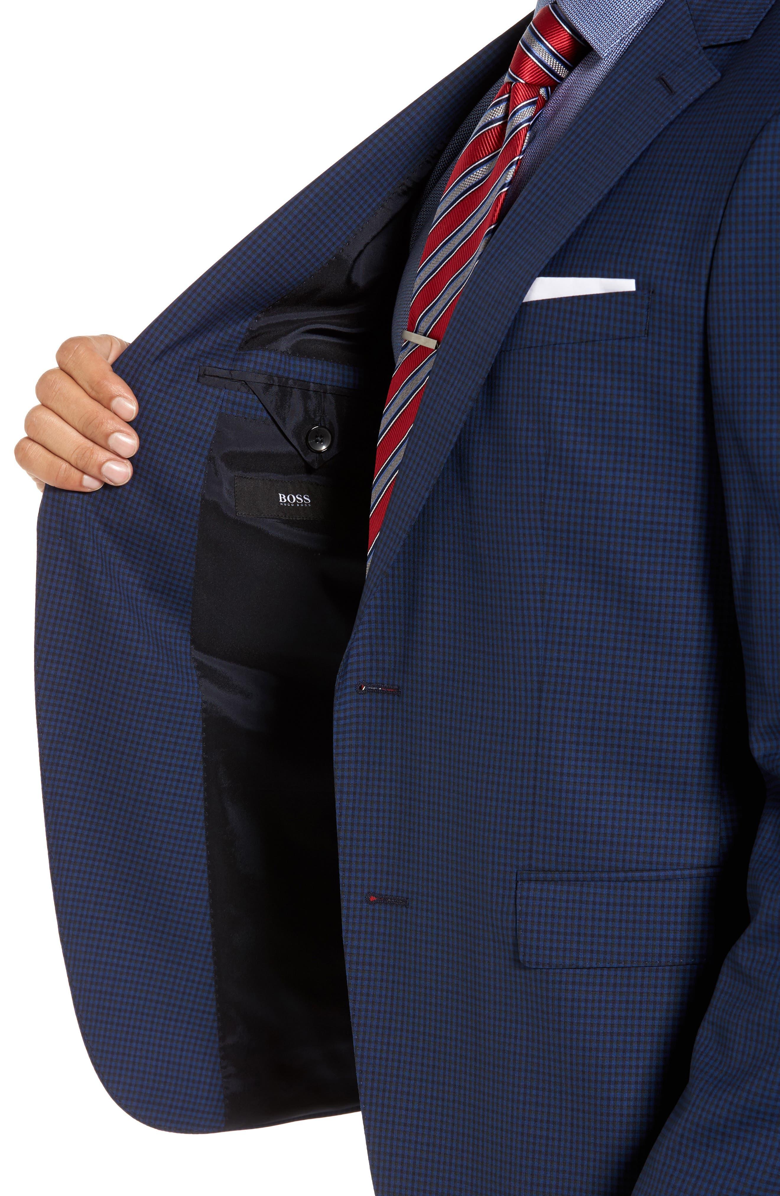 Novan/Ben Trim Fit Check Wool Suit,                             Alternate thumbnail 4, color,                             Dark Blue