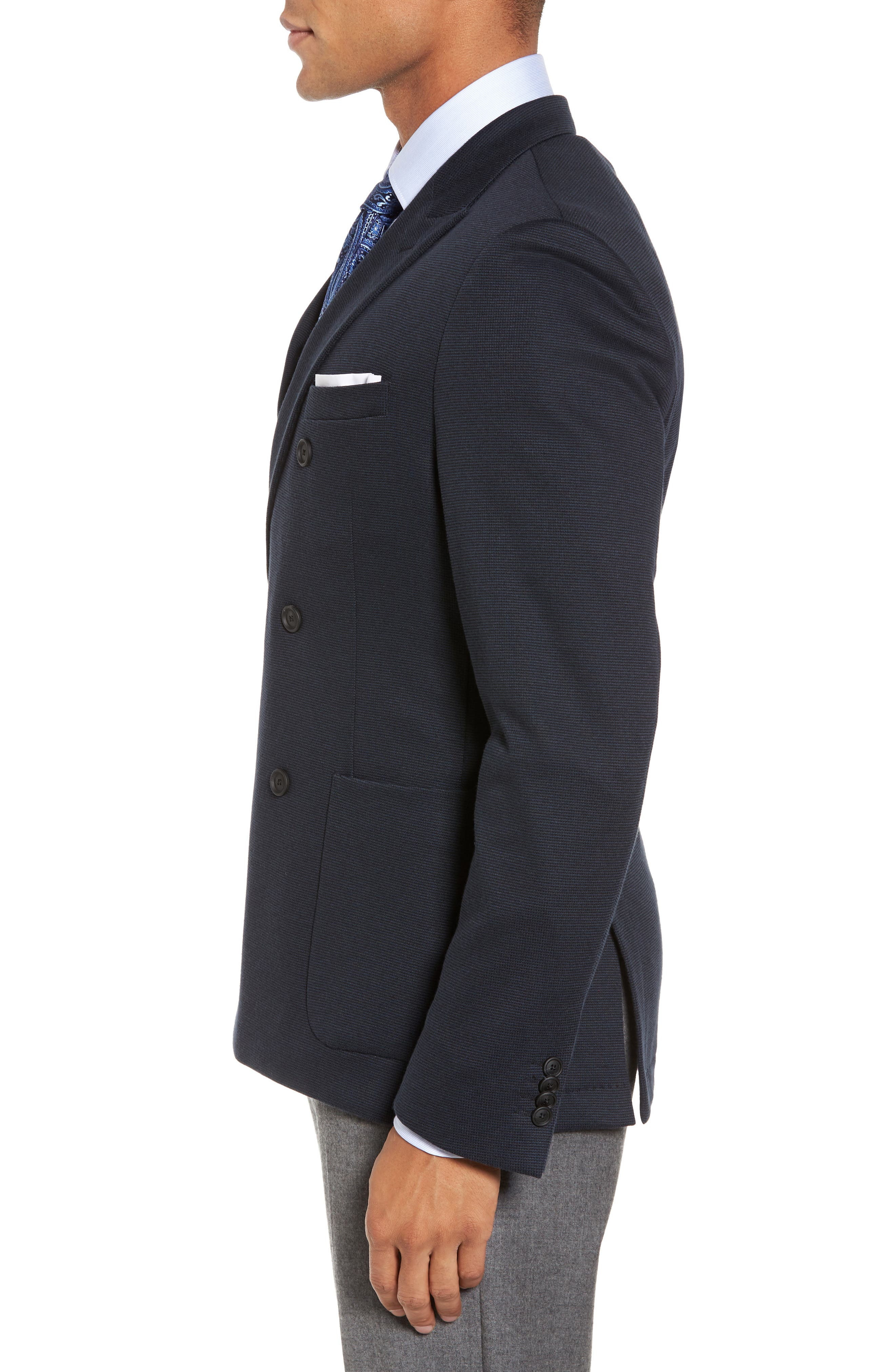 Nayler-J Trim Fit Double-Breasted Blazer,                             Alternate thumbnail 3, color,                             Navy