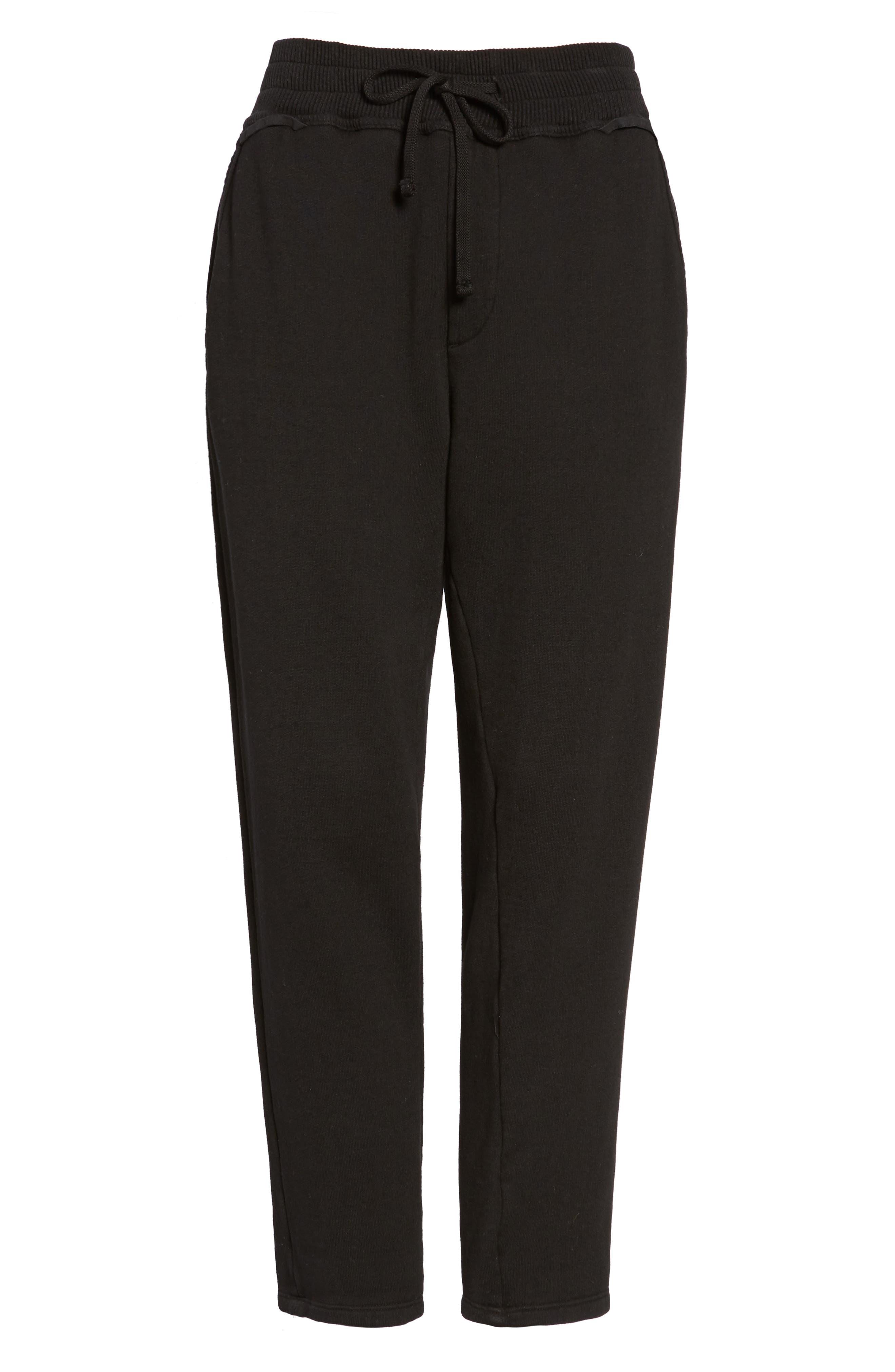 Terry Lounge Pants,                             Alternate thumbnail 5, color,                             Black
