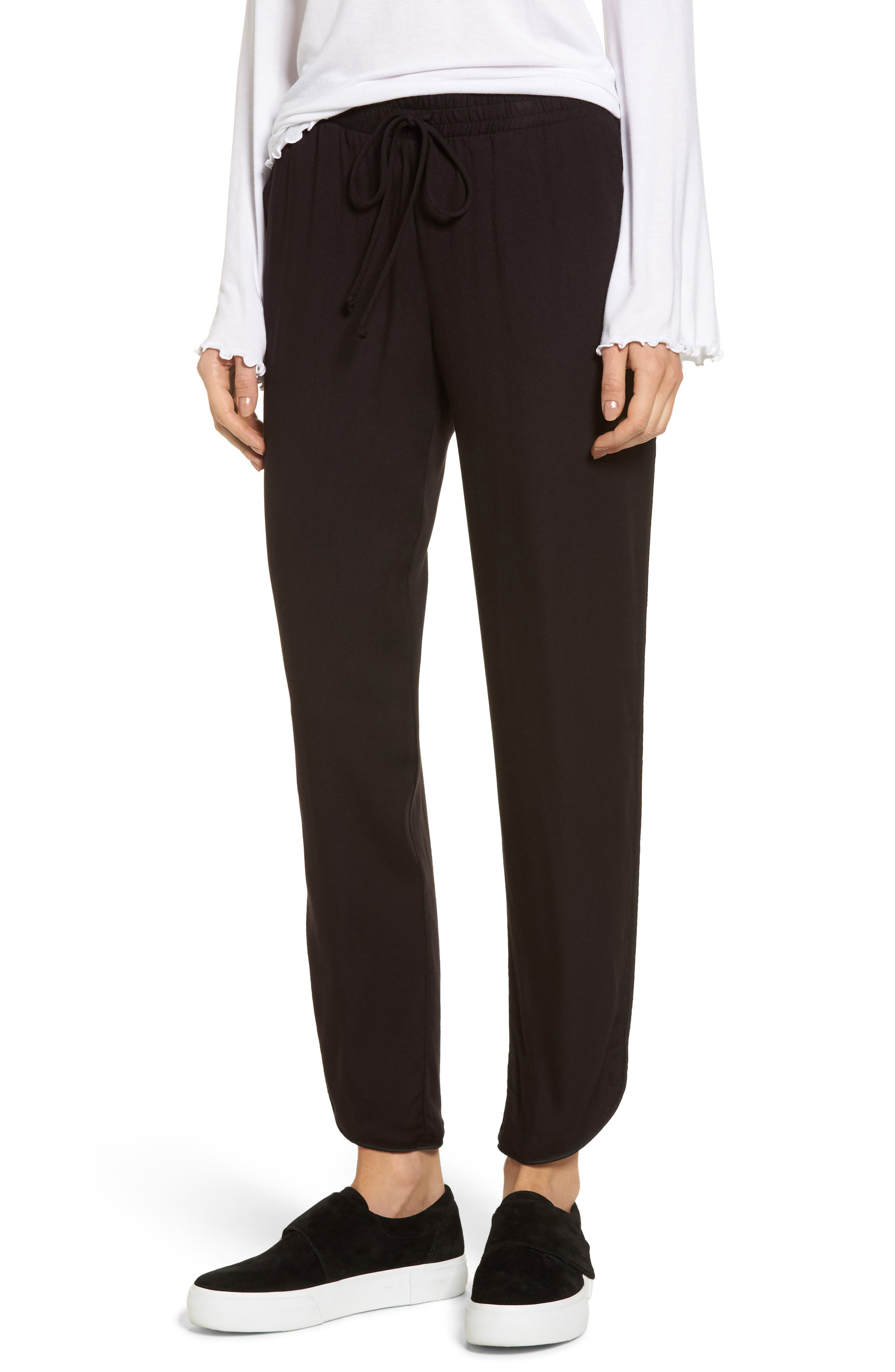 Piped Tulip Hem Pants,                         Main,                         color, Black