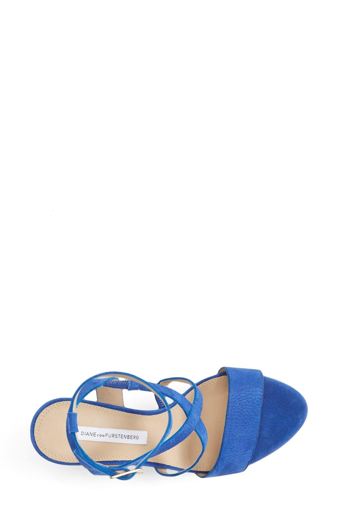 'Lamille' Leather Platform Wedge Sandal,                             Alternate thumbnail 3, color,                             Blue Riviera