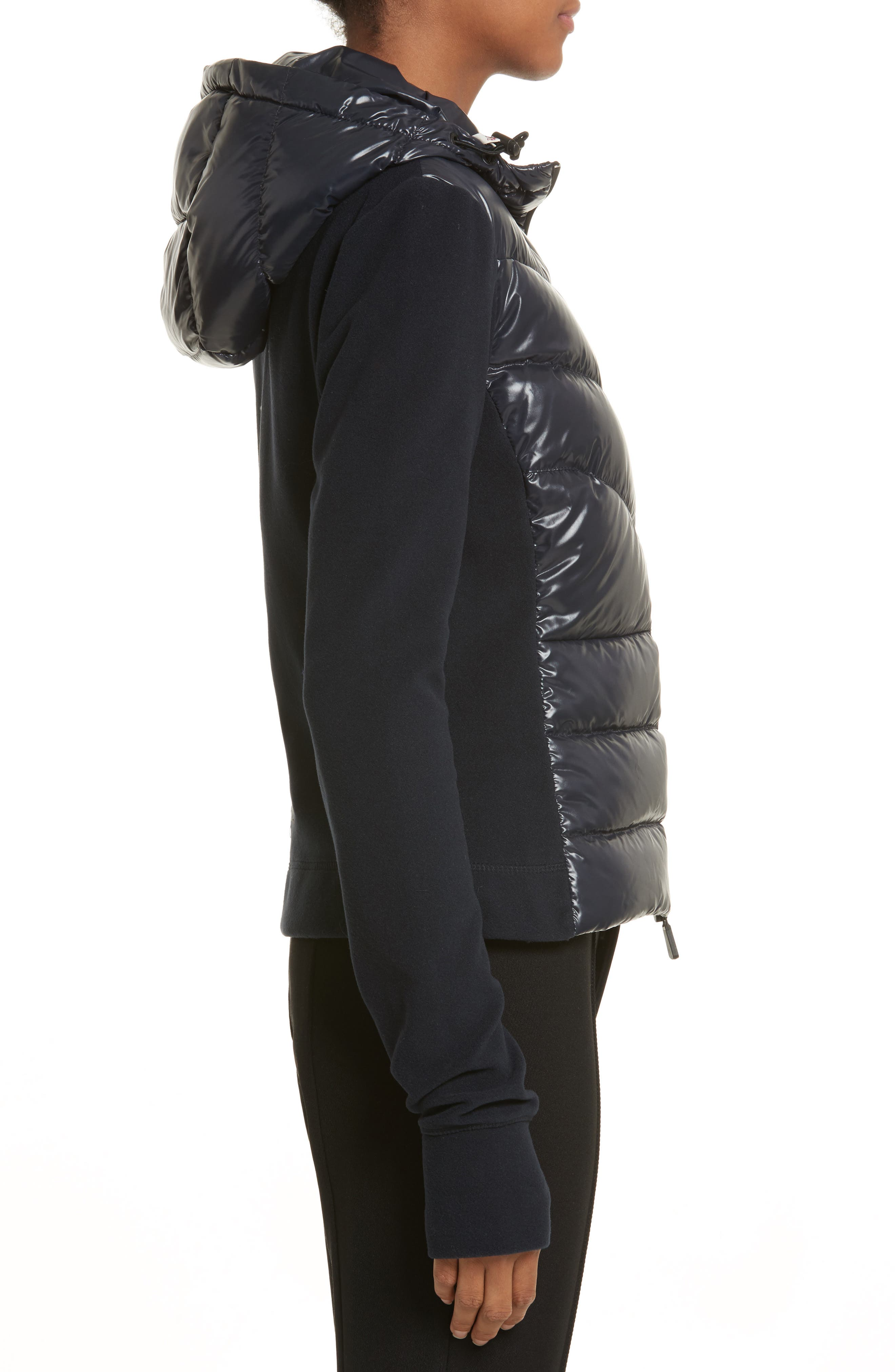 Quilted Front Hooded Jacket,                             Alternate thumbnail 3, color,                             Navy